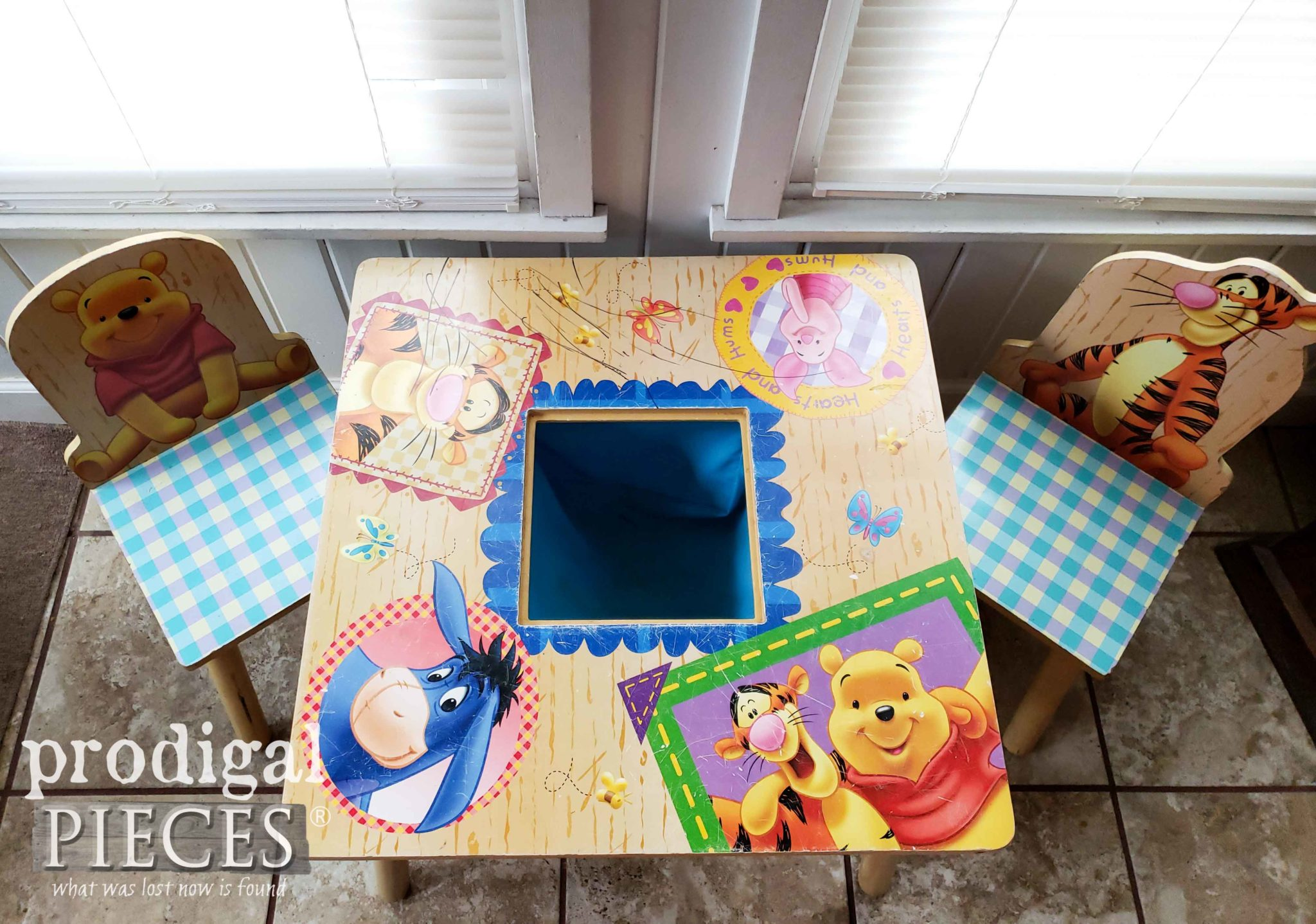Top of Worn Winne the Pooh Kids Play Table | prodigalpieces.com