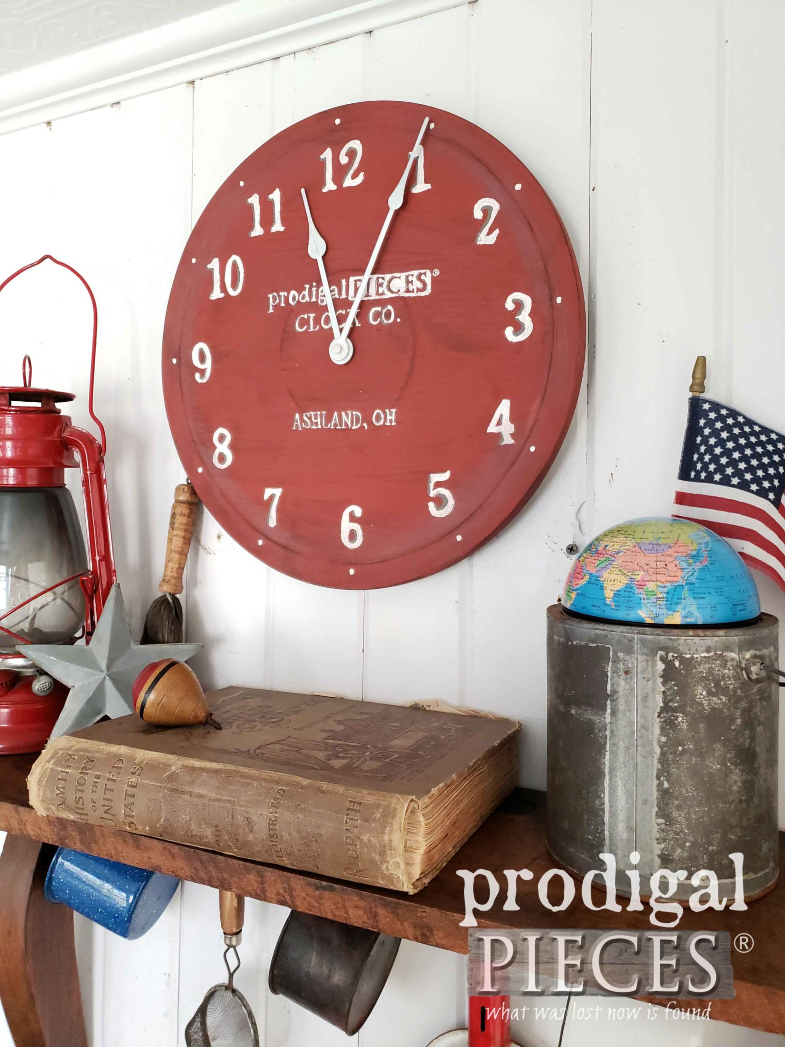 Barn Red Milk Painted Clock Created by Larissa of Prodigal Pieces | prodigalpieces.com