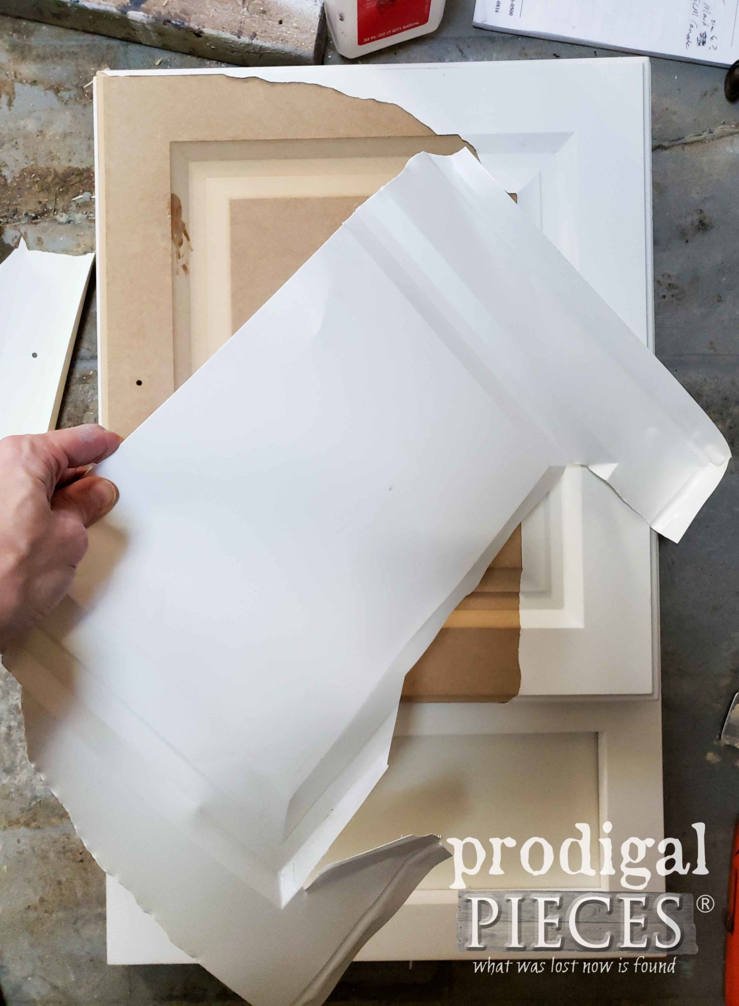 How to Remove Laminate from Cabinet Doors | prodigalpieces.com