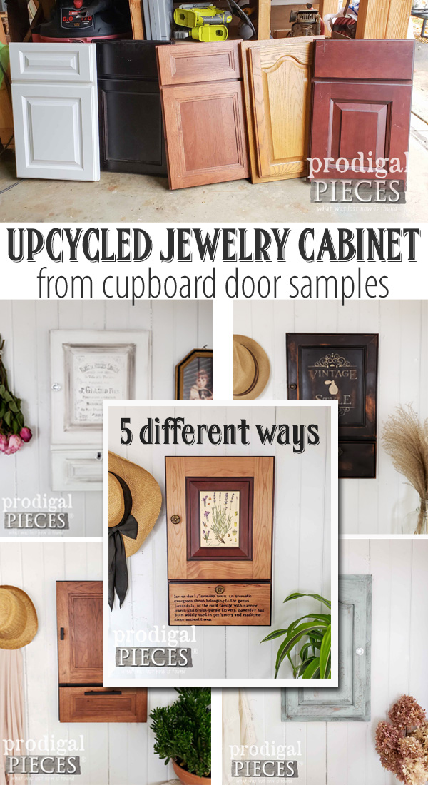 Whoa...these repurposed cupboard door samples make for awesome jewelry cabinet organizers! Full DIY tutorial by Larissa of Prodigal Pieces at prodigalpieces.com #prodigalpieces #diy #handmade #home #homedecor #homdecorideas