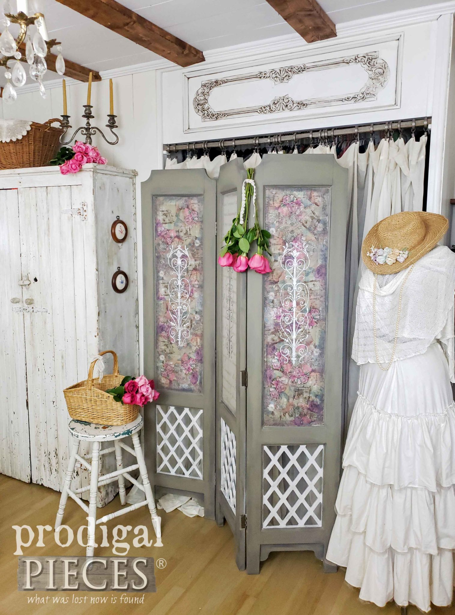 Romantic Chic Bedroom with Roses and French Style Folding Screen by Larissa of Prodigal Pieces | prodigalpieces.com