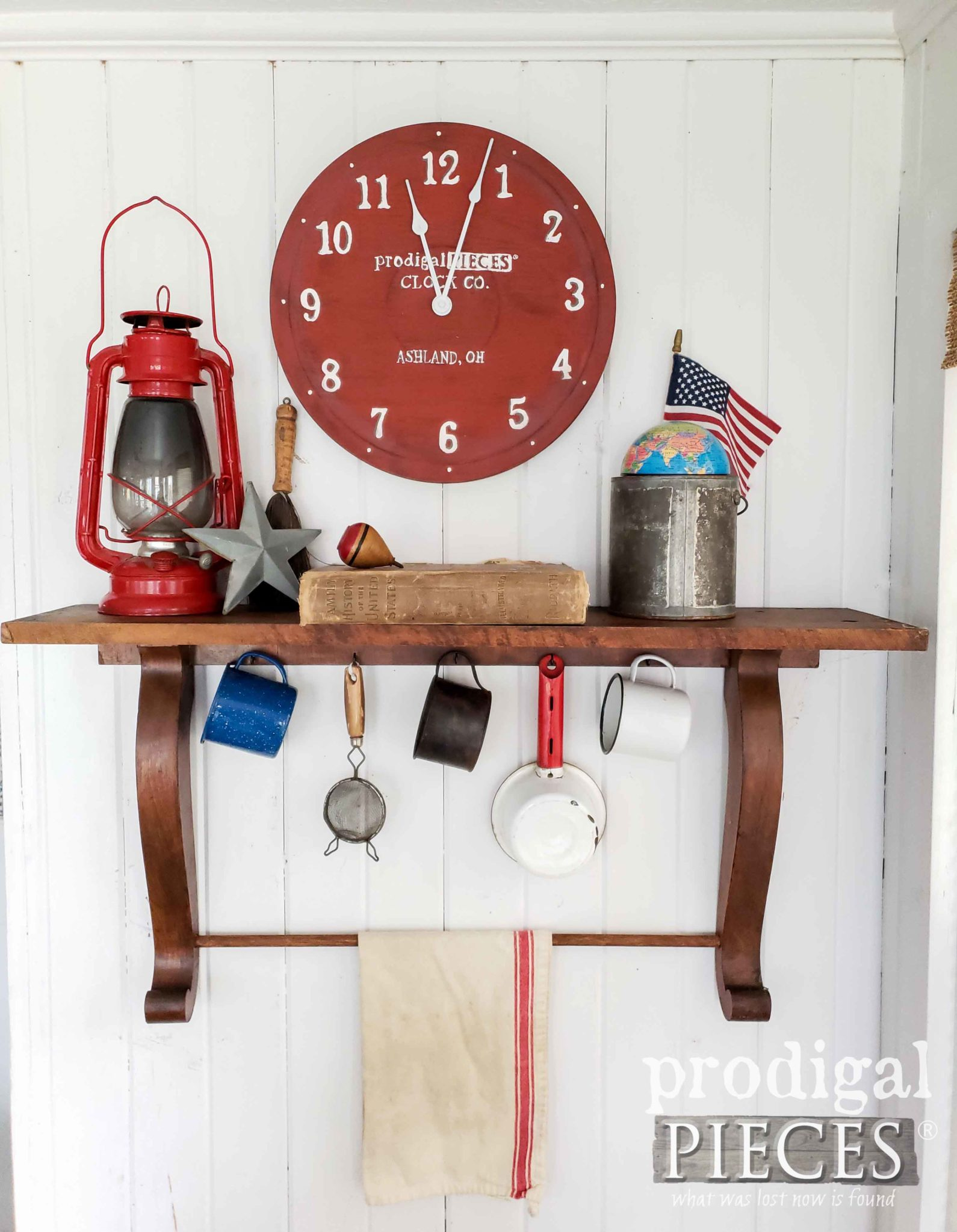 Rustic Farmhouse Wall Clock in Red Milk Paint by Larissa of Prodigal Pieces | prodigalpieces.com