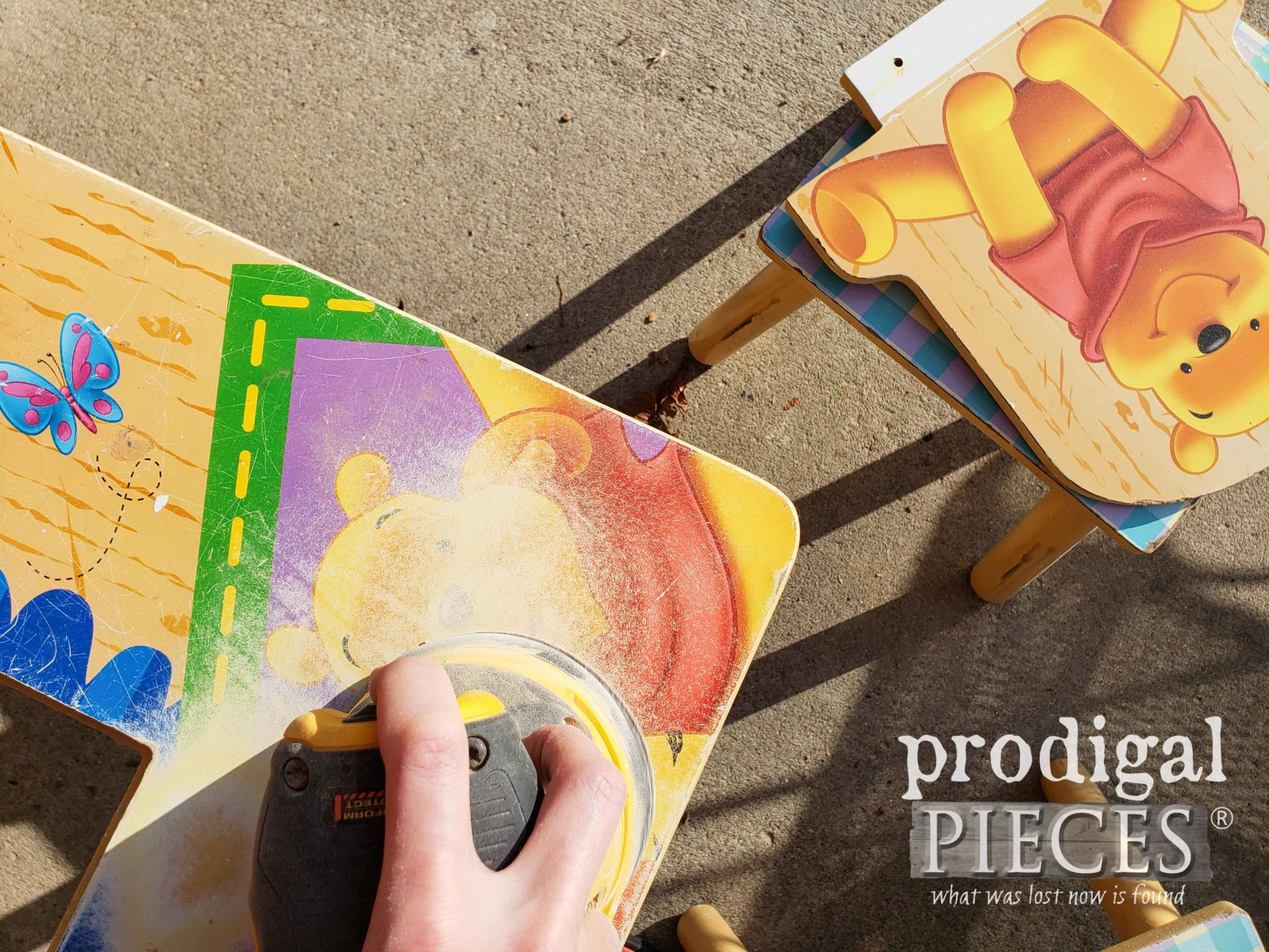 Sanding Winnie the Pooh Kids Play Table | prodigalpieces.com