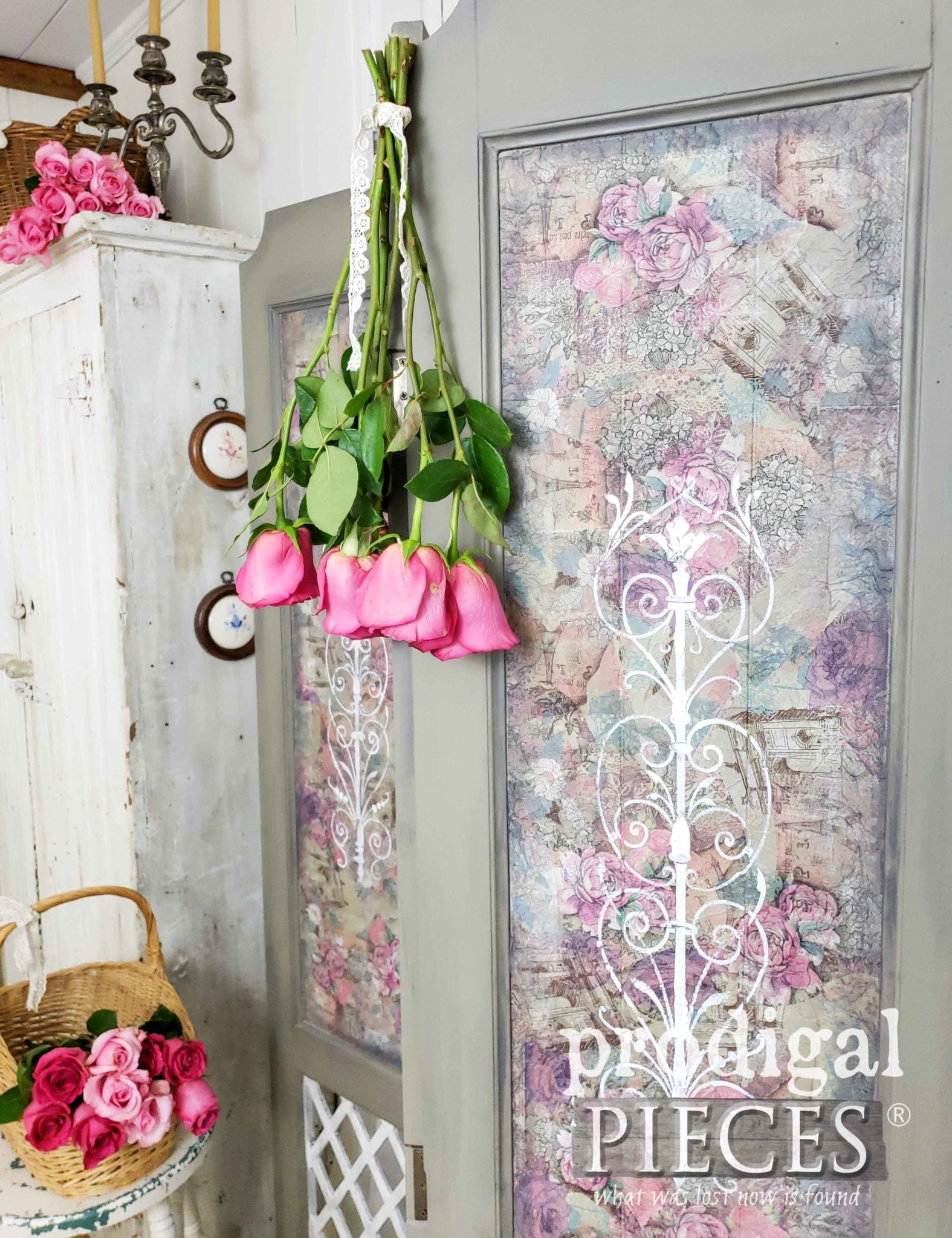Shabby Chic Cottage Style Folding Screen with Decoupage Panels by Larissa of Prodigal Pieces | prodigalpieces.com