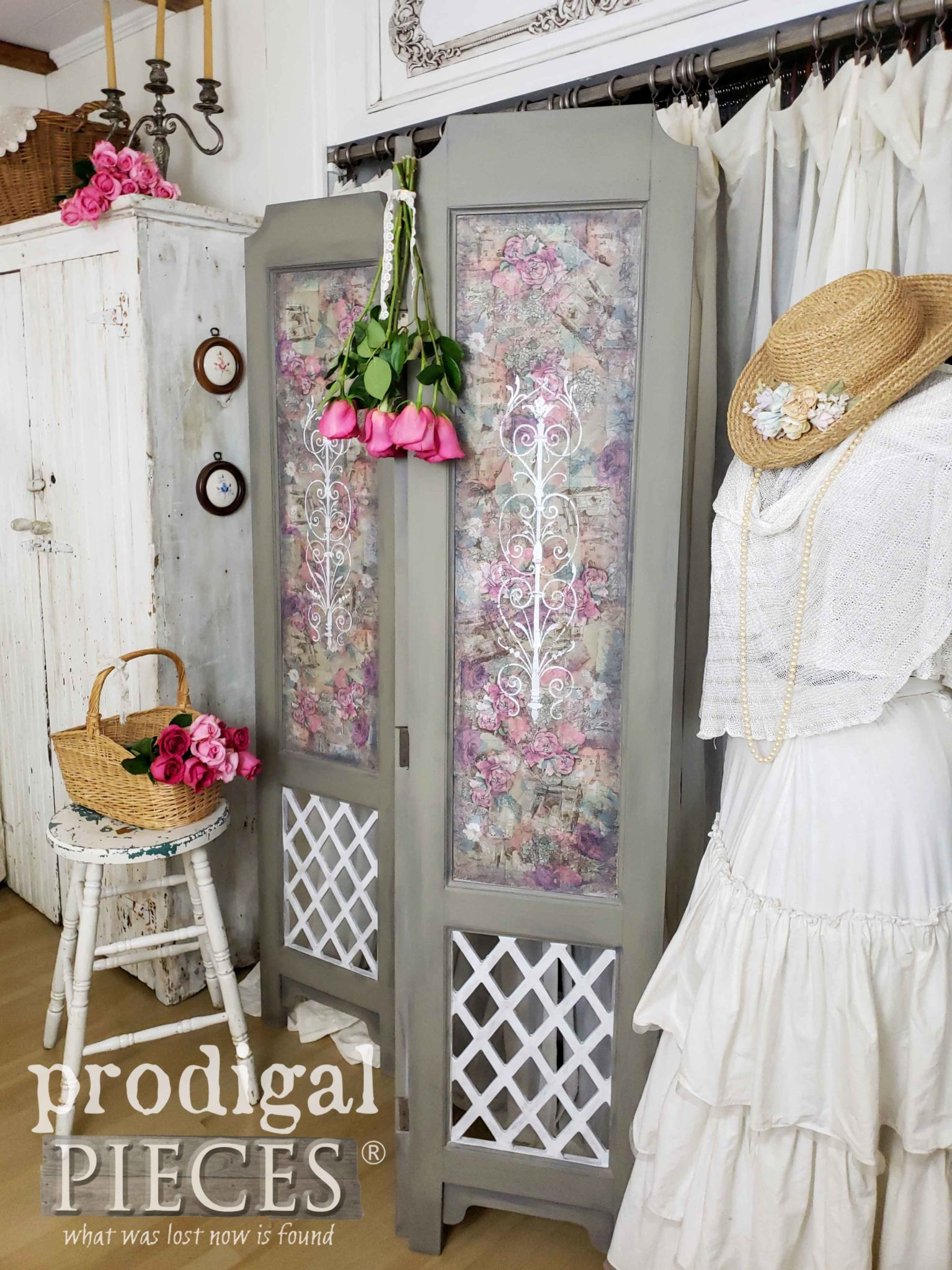 Shabby Chic Folding Screen Room Divider with Decoupage Details by Larissa of Prodigal Pieces | prodigalpieces.com