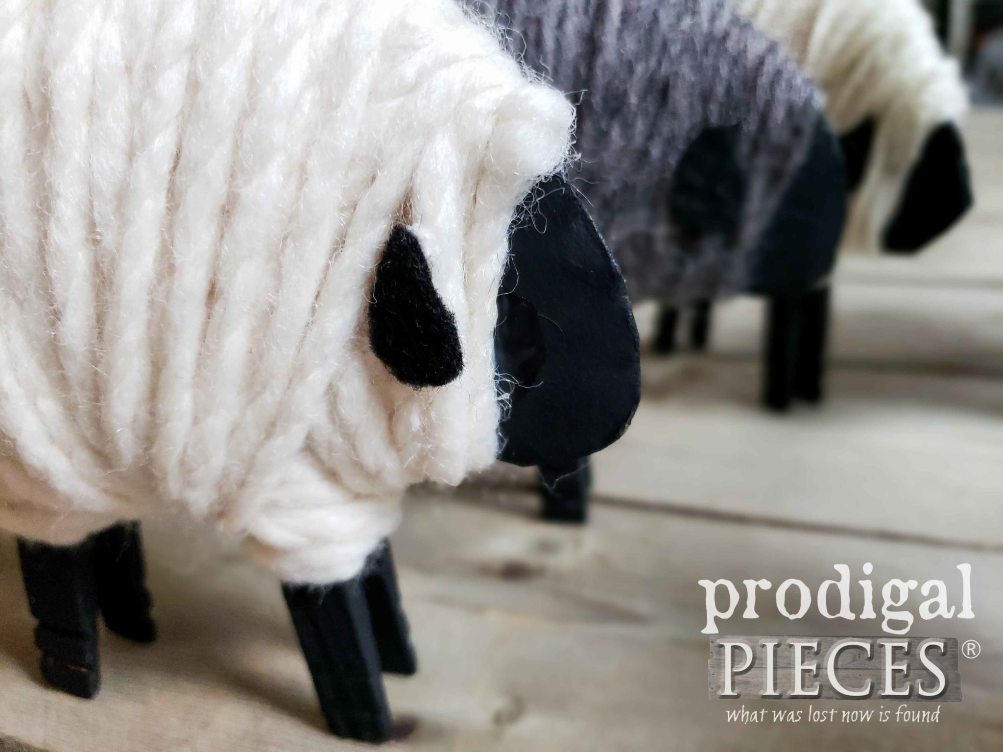 Adorable Woolly Clothespin Sheep Ornaments in a Row | Video Tutorial by Larissa of Prodigal Pieces | prodigalpieces.com
