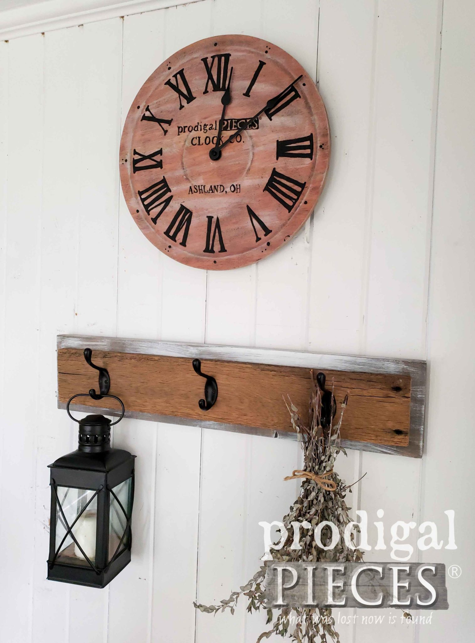 Simply Fresh Farmhouse Style Decor with Handmade Wall Clock by Larissa of Prodigal Pieces | prodigalpieces.com