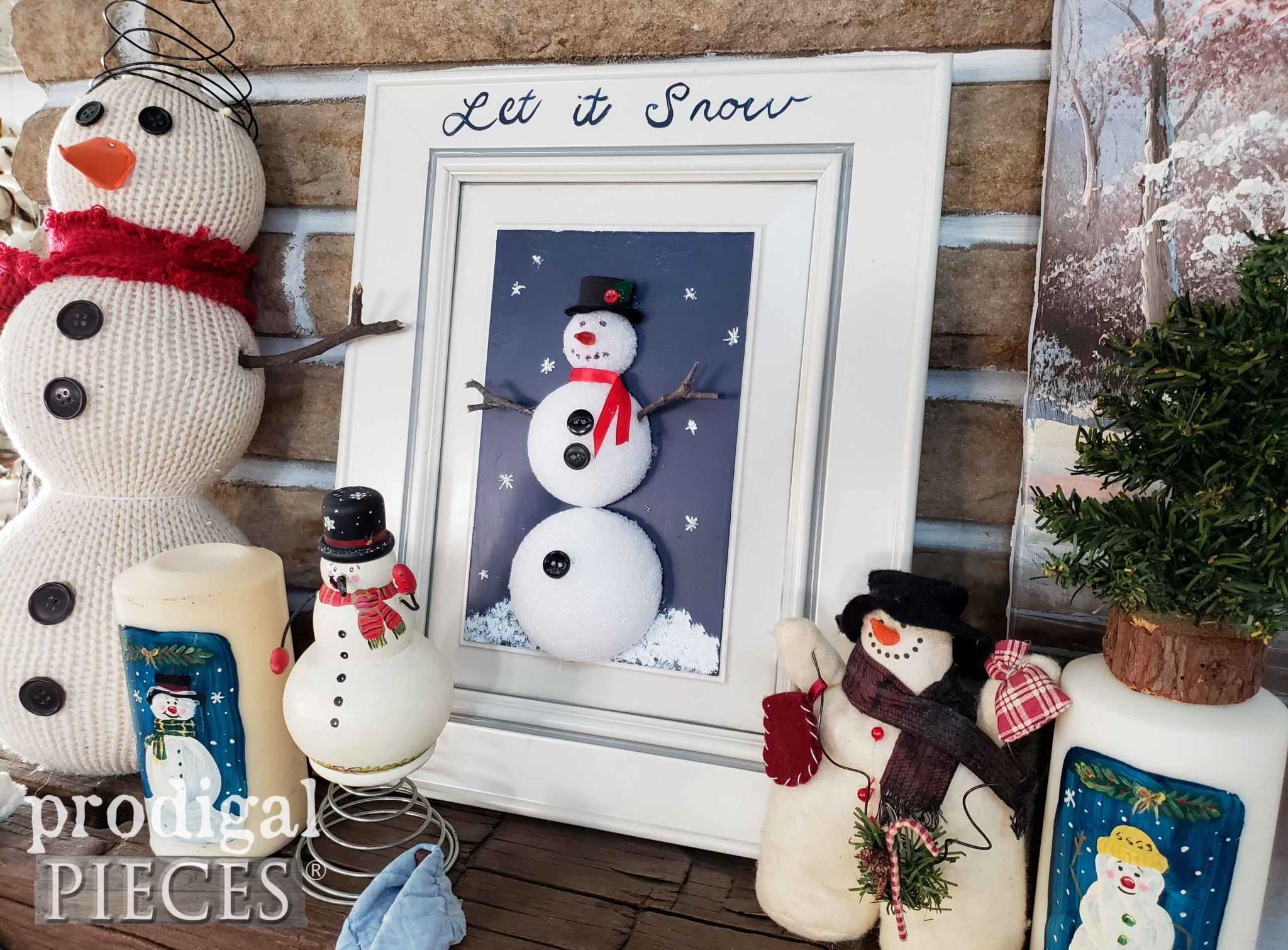 Handmade Snowman Wall Art with Tutorial by Prodigal Pieces Kids Create | prodigalpieces.com