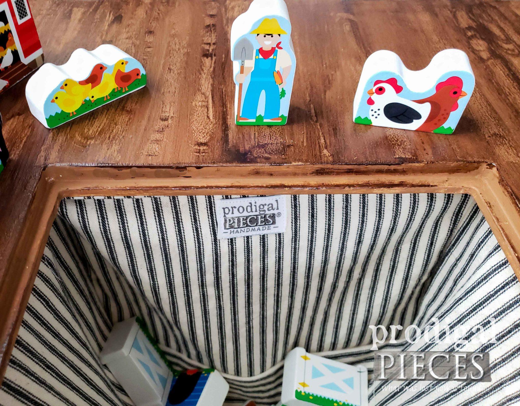 Farmhouse Ticking Storage Bin Inside Kids Play Table by Prodigal Pieces | prodigalpieces.com
