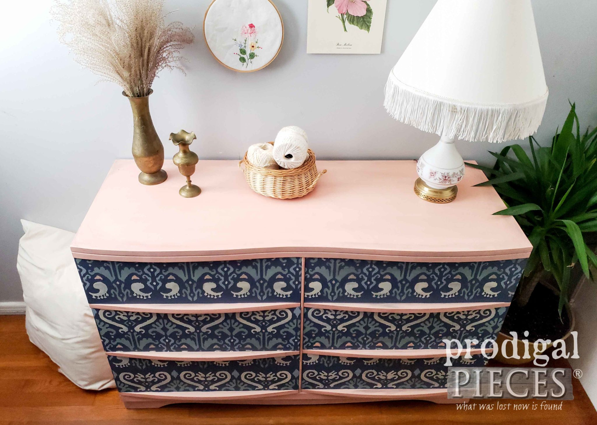 Top View of Ikat Mid Century Modern Dresser in Blush Pink and Blue by Larissa of Prodigal Pieces | prodigalpieces.com