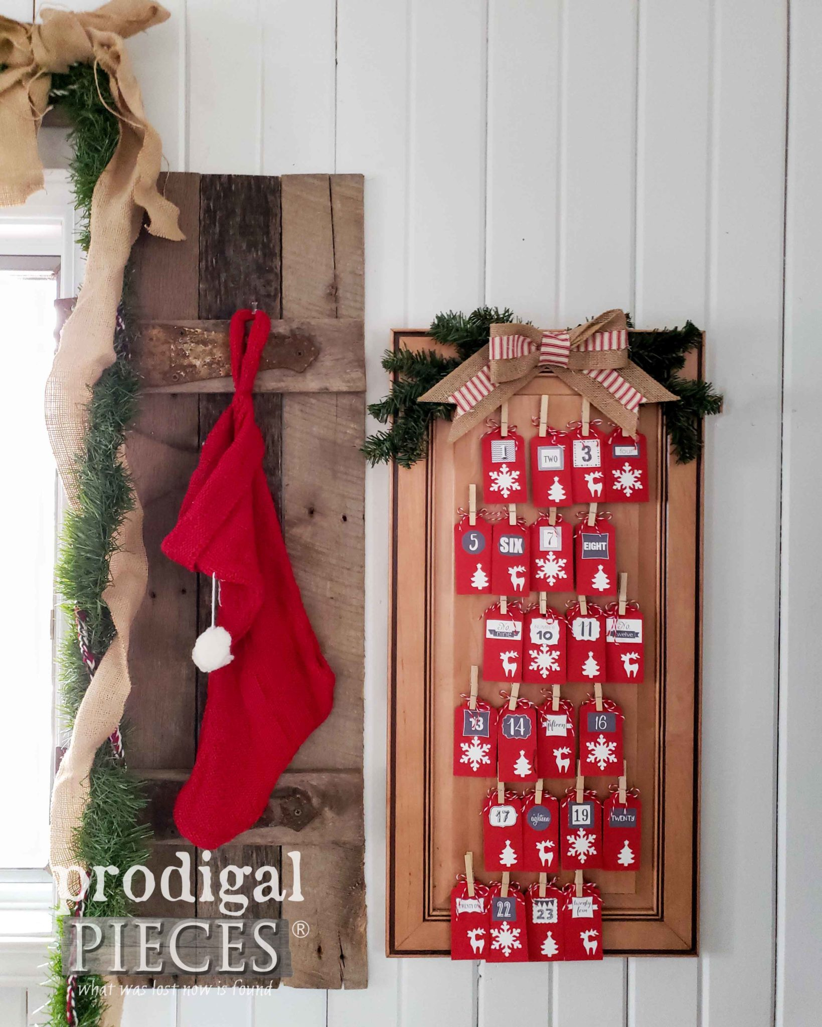 Farmhouse Style DIY Advent Calendar from Upcycled Cupboard Door by Prodigal Pieces Kids Create | prodigalpieces.com