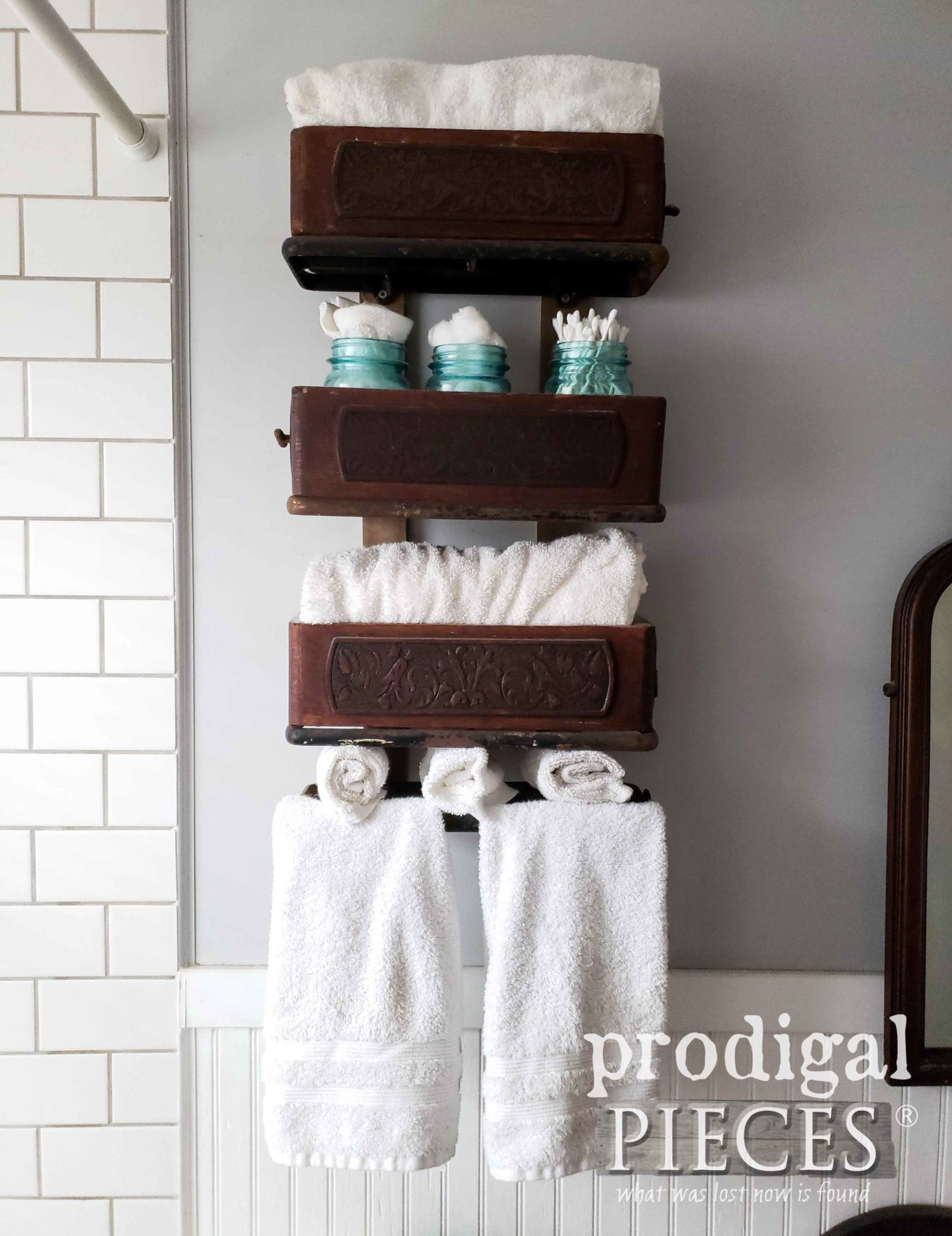 Upcycled Bathroom Storage from Treadle Sewing Machine Parts by Prodigal Pieces | prodigalpieces.com