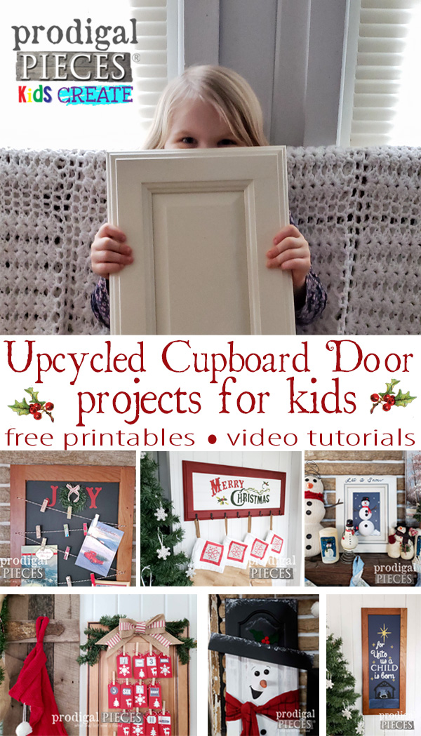 Hey Kids (& Parents)! You'll have a blast creating this Upcycled Christmas Cupboard Door Projects for your home and as gifts | Free Printables and Video Tutorial too | Get the DIY details at Prodigal Pieces | prodigalpieces.com #prodigalpieces #diy #handmade #gifts #giftideas #christmas #kids #home #homedecor #homedecorideas #video #tutorial