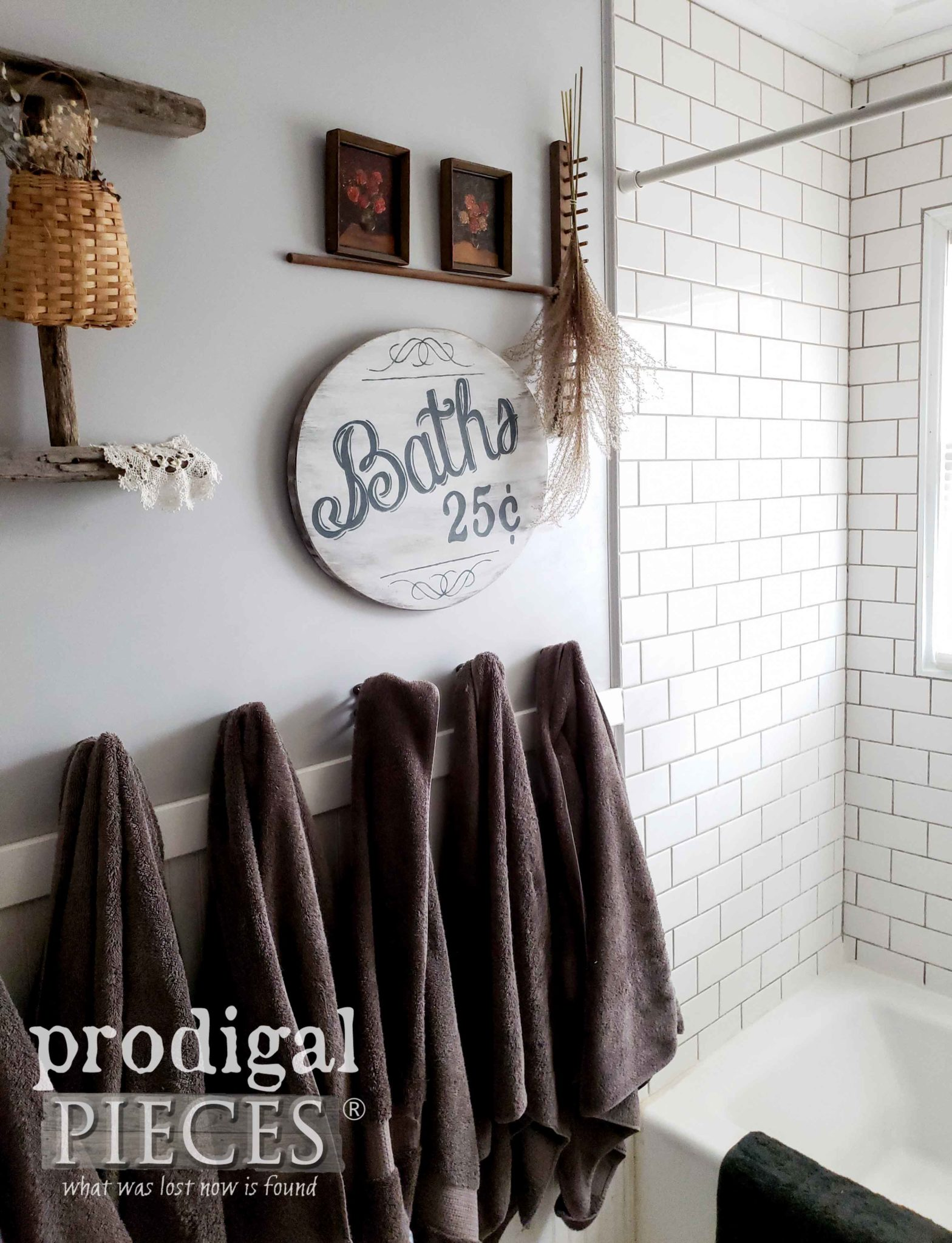 Vintage Style Bathroom with Farmhouse Flair by Prodigal Pieces | prodigalpieces.com