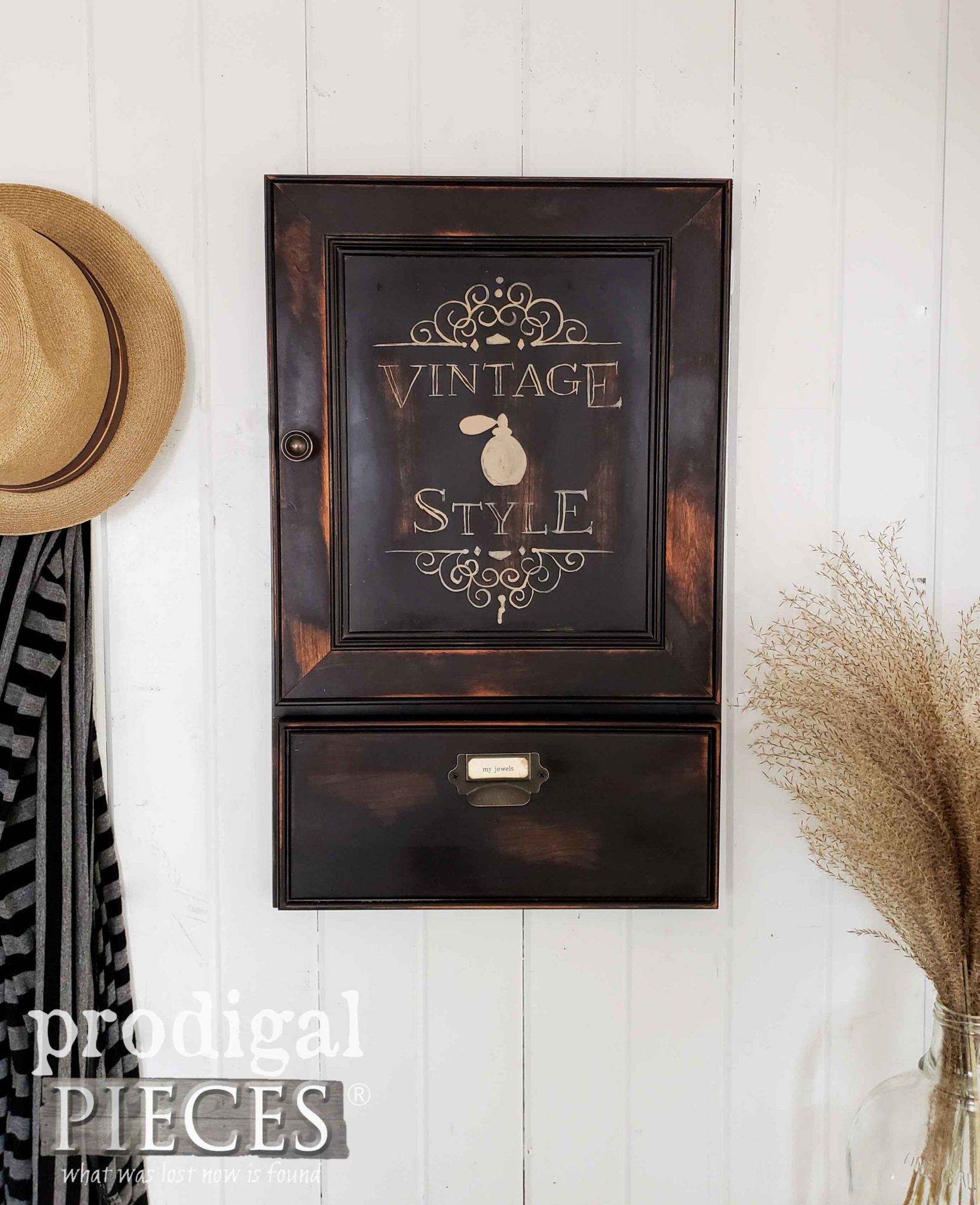 Handmade Vintage Style Jewelry Cabinet with Storage by Larissa of Prodigal Pieces | prodigalpieces.com