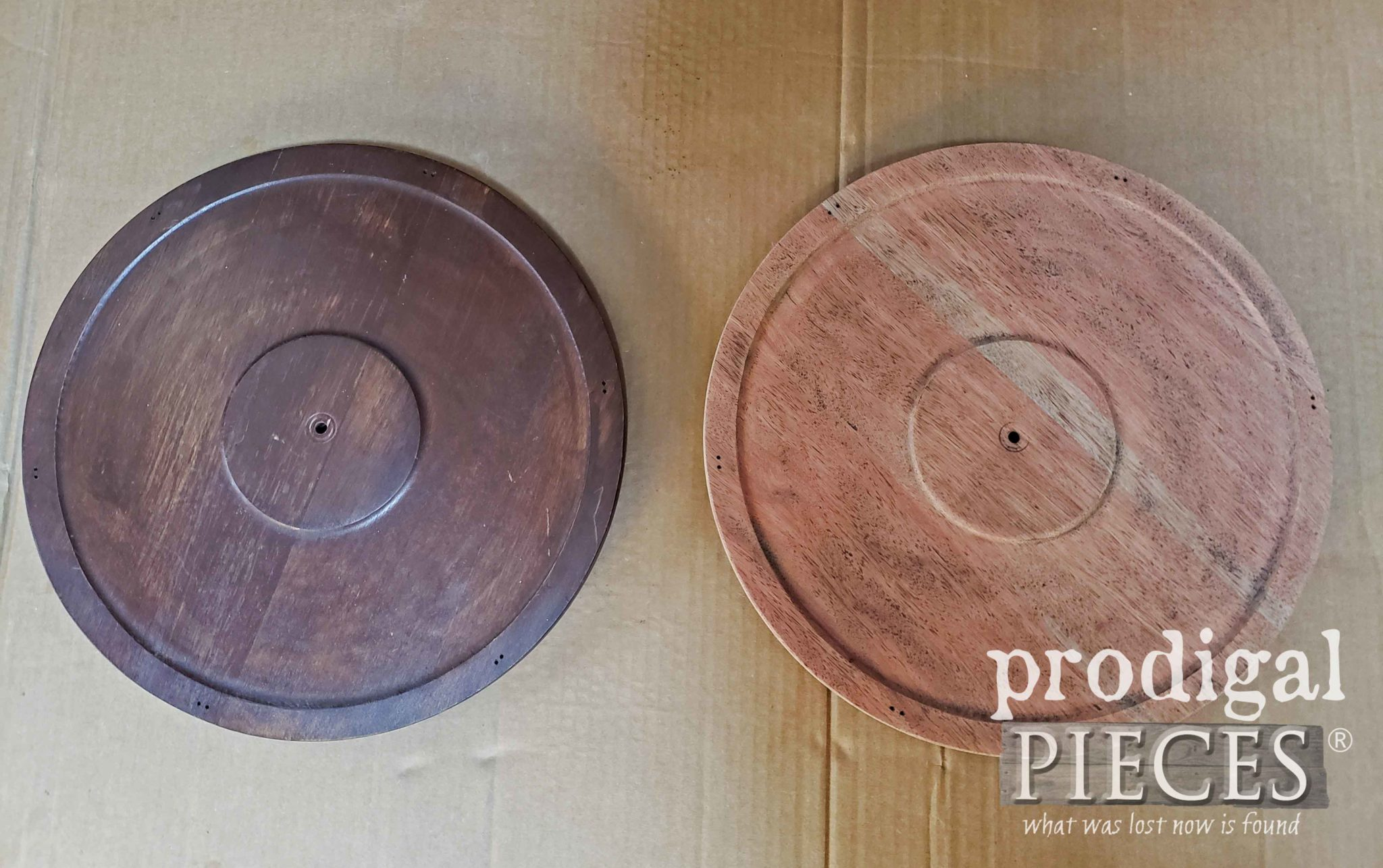Wood Rounds Before Repurposed Wall Clocks | prodigalpieces.com