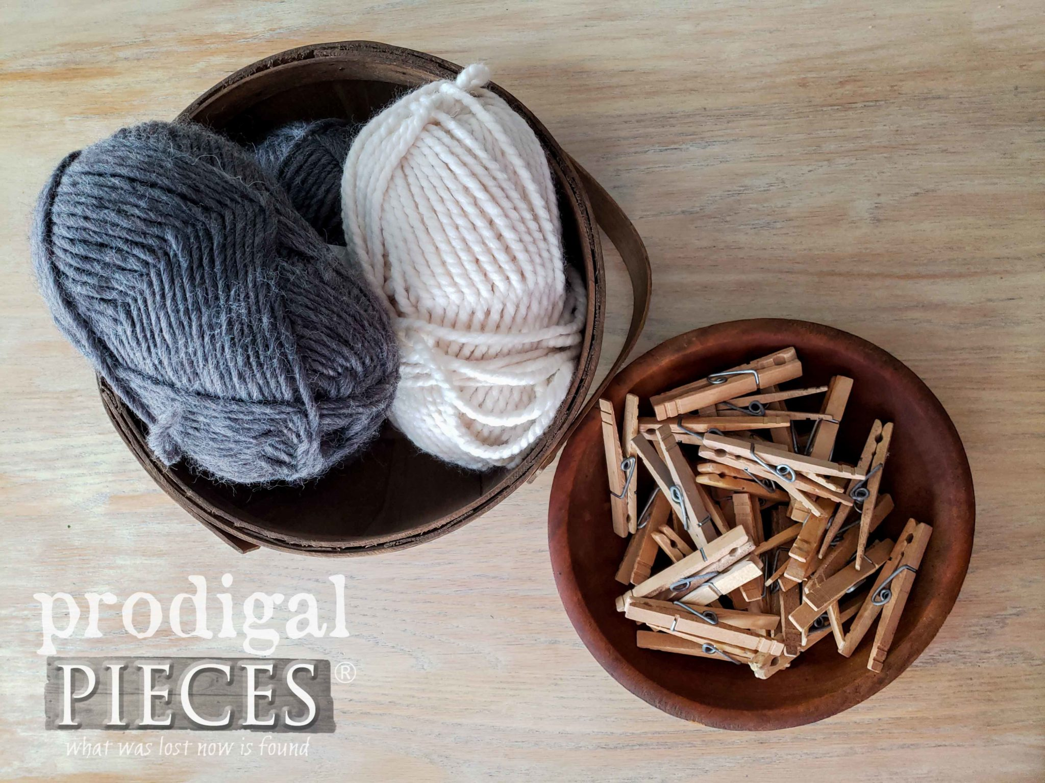 Wool Yarn and Clothespins to make Woolly Sheep Ornaments | Video Tutorial by Larissa of Prodigal Pieces | prodigalpieces.com