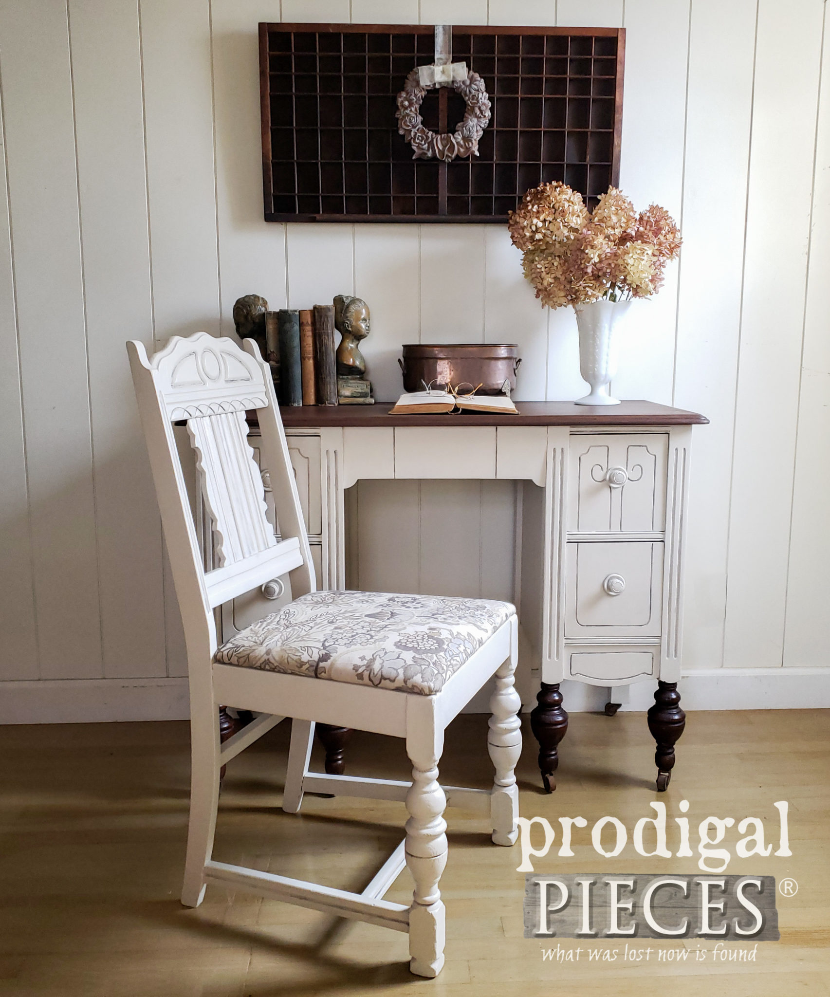 Antique Desk and Chair Set Refinished by Larissa of Prodigal Pieces | prodigalpieces.com