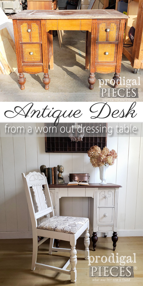 A sad and dilapidated antique dressing table just needed some TLC. Come see how Larissa of Prodigal Pieces brought it back to life in her video tutorial | Head to prodigalpieces.com #prodigalpieces #diy #furniture #home #homedecor #homedecorideas #video #antique