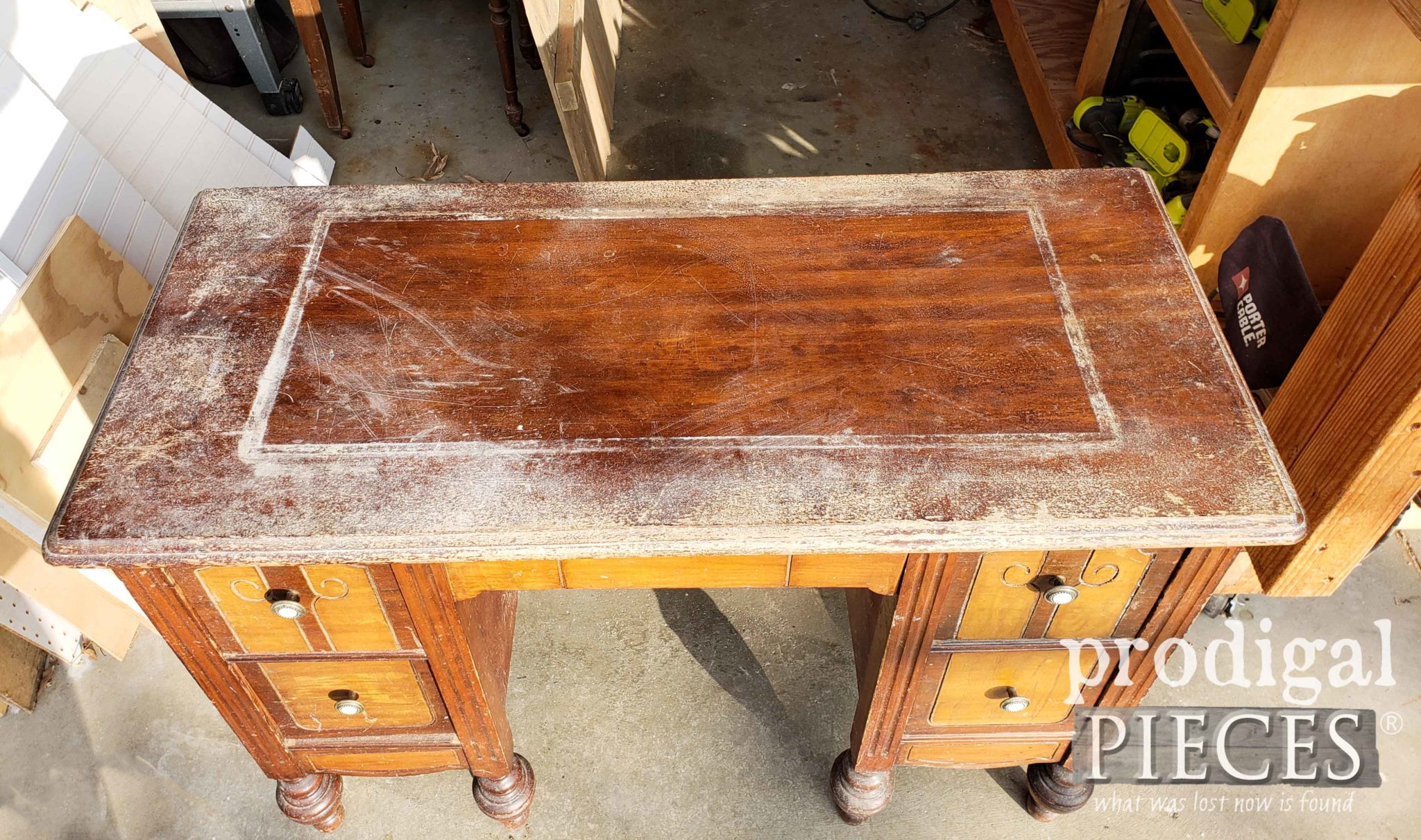 Antique Dressing Table Top Before | prodigalpieces.com