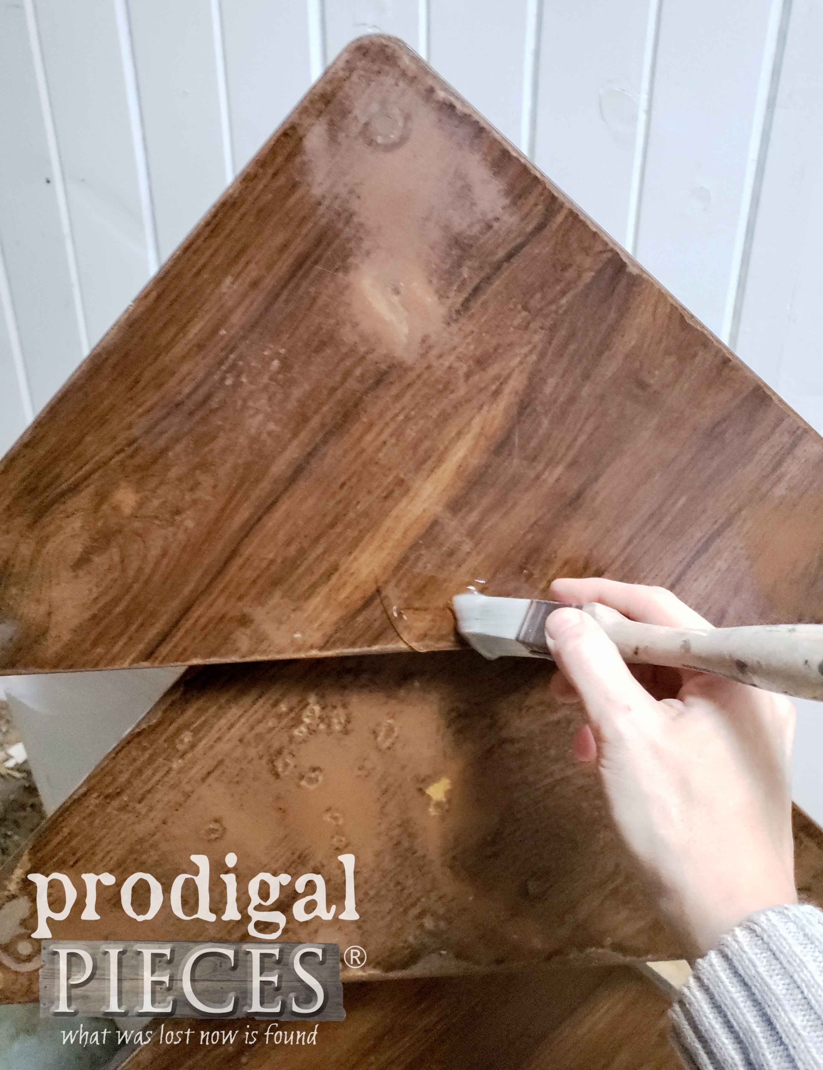 Applying Crackle to Upcycled Christmas Tree | prodigalpieces.com