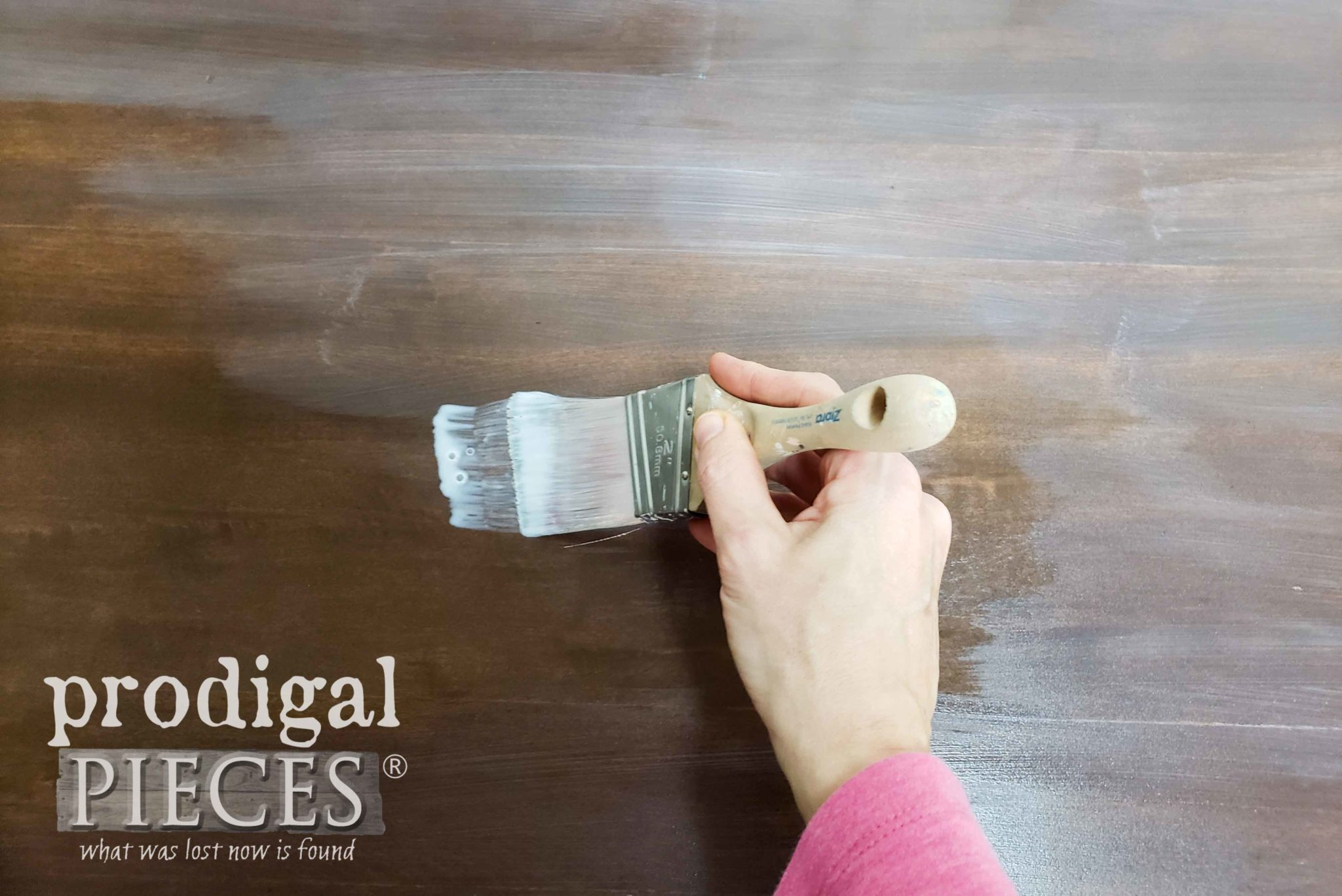 Applying Poly Topcoat to Desk Top | prodigalpieces.com