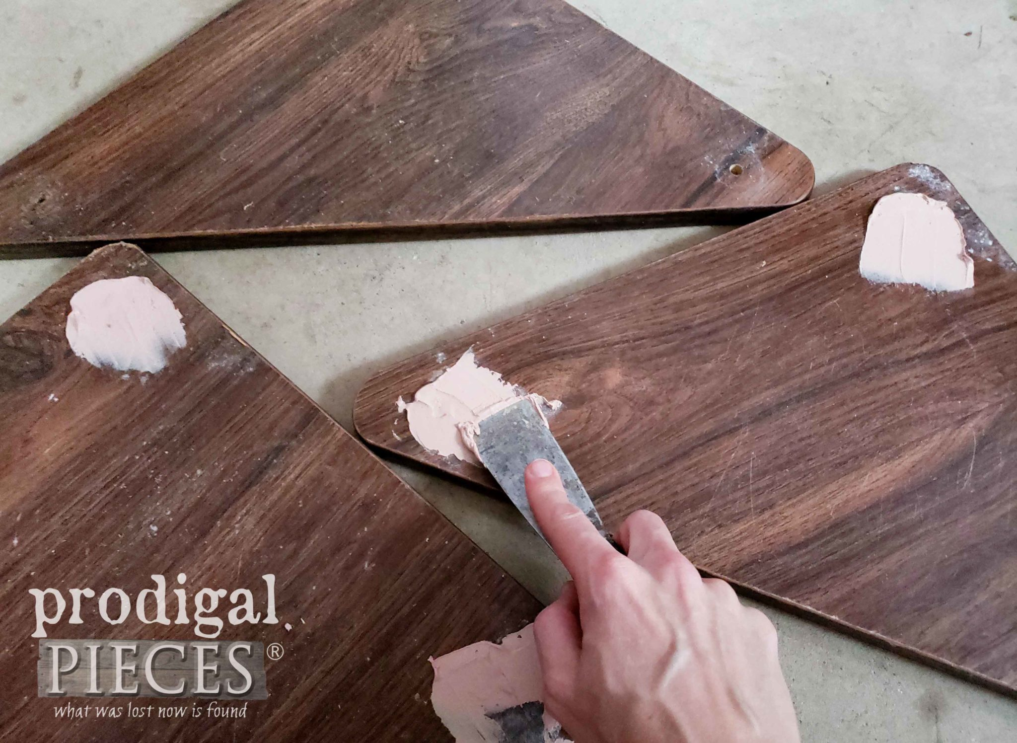 Applying Wood Filler to Shelf Holes | prodigalpieces.com