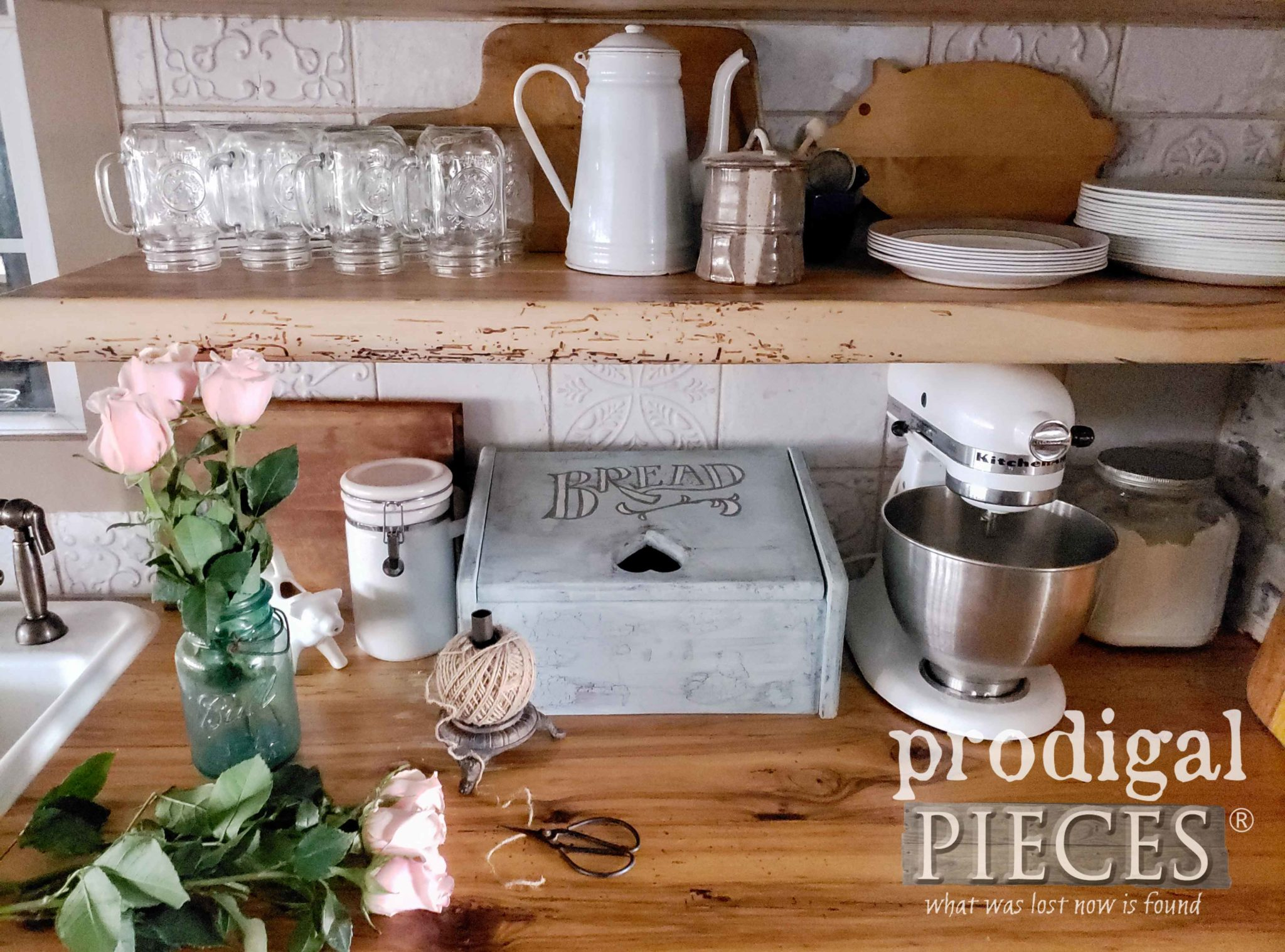 How to Turn a Vintage Bread Box into and Upcycled Charging Station with video tutorial by Larissa of Prodigal Pieces | prodigalpieces.com