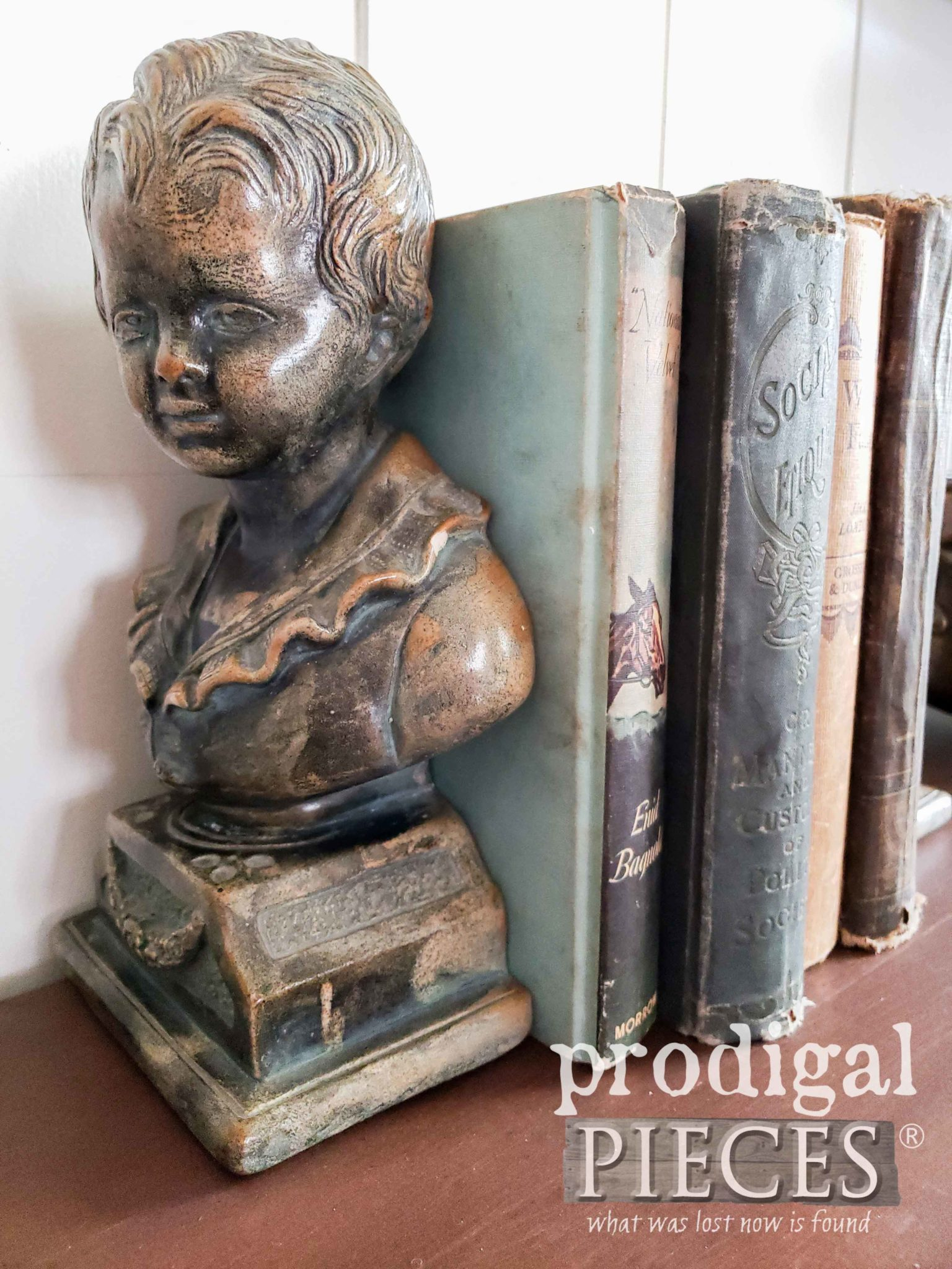 Vintage Bust Bookends for Antique Desk by Larissa of Prodigal Pieces | prodigalpieces.com
