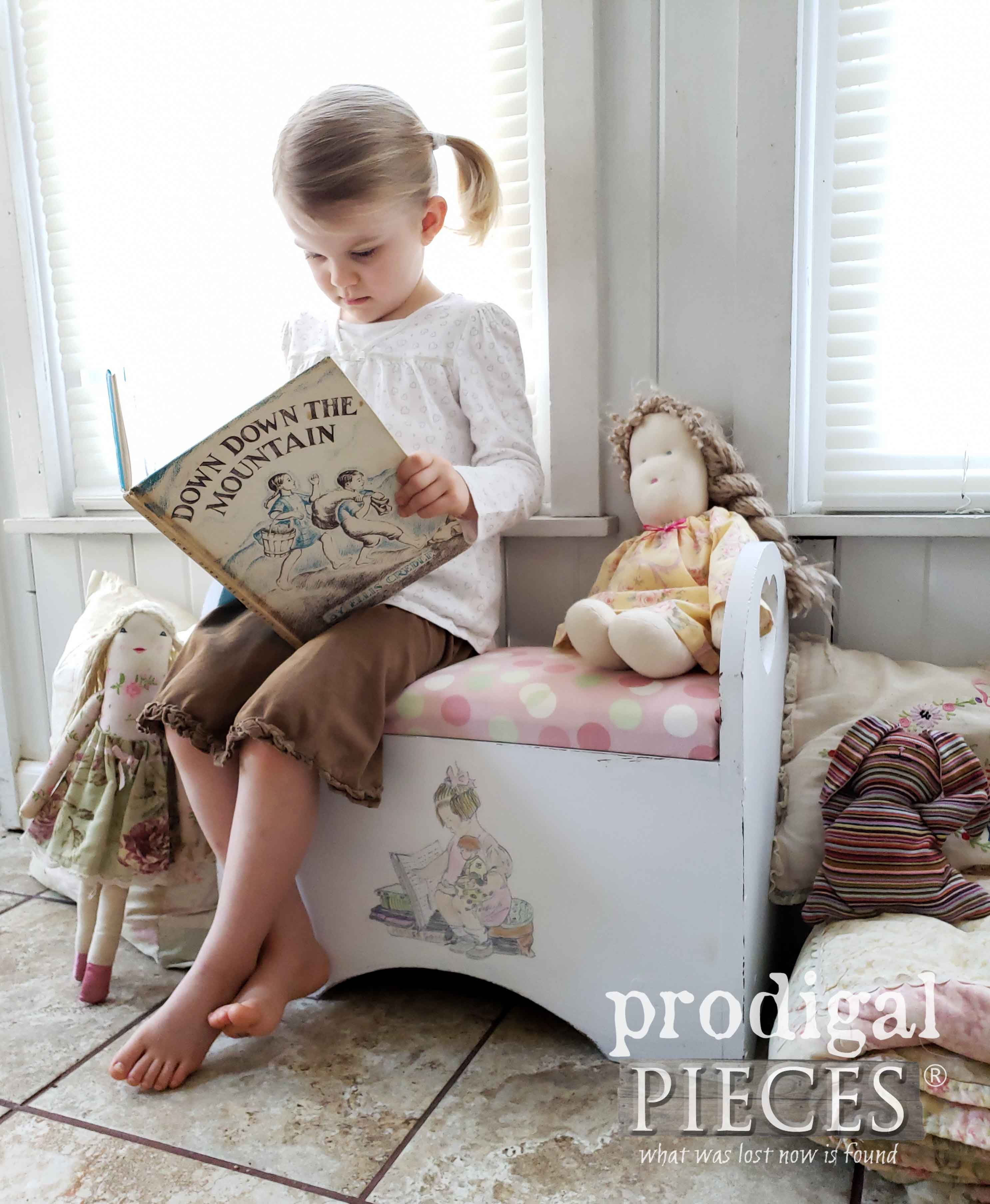 Child's Storage Bench Made from Upcycled Magazine Holder by Larissa of Prodigal Pieces | prodigalpieces.com