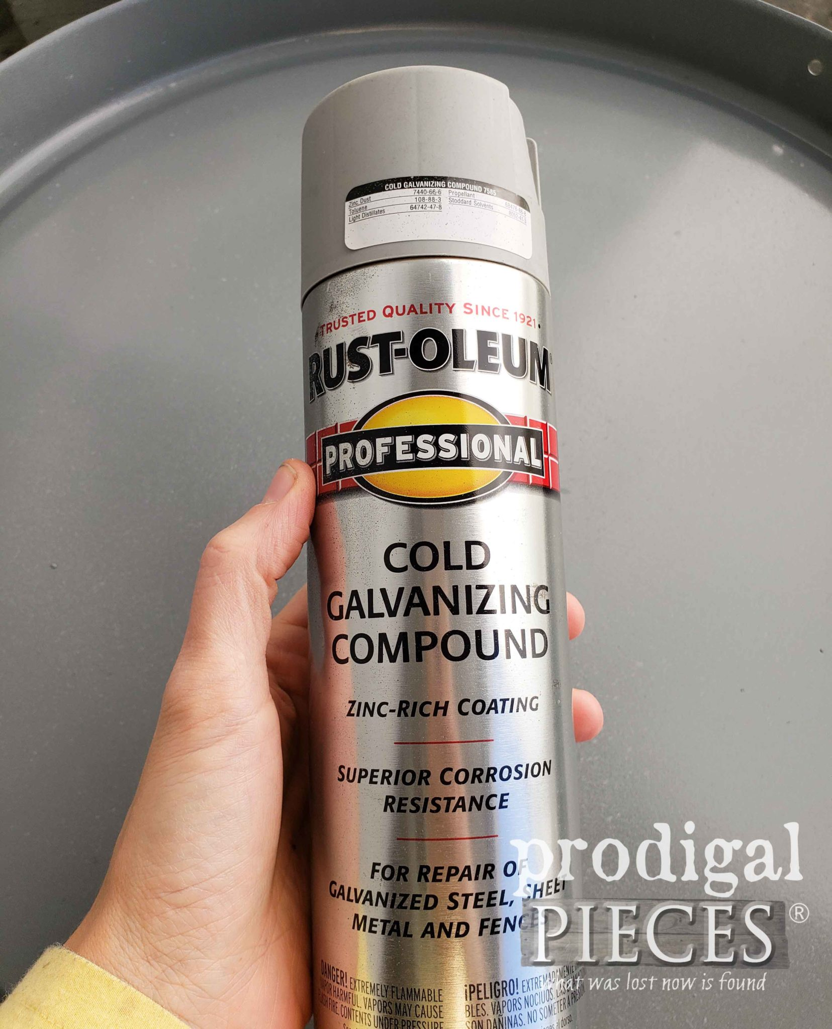 Rustoleum Cold Galvanizing Compound for Zinc Effect by Larissa of Prodigal Pieces | prodigalpieces.com