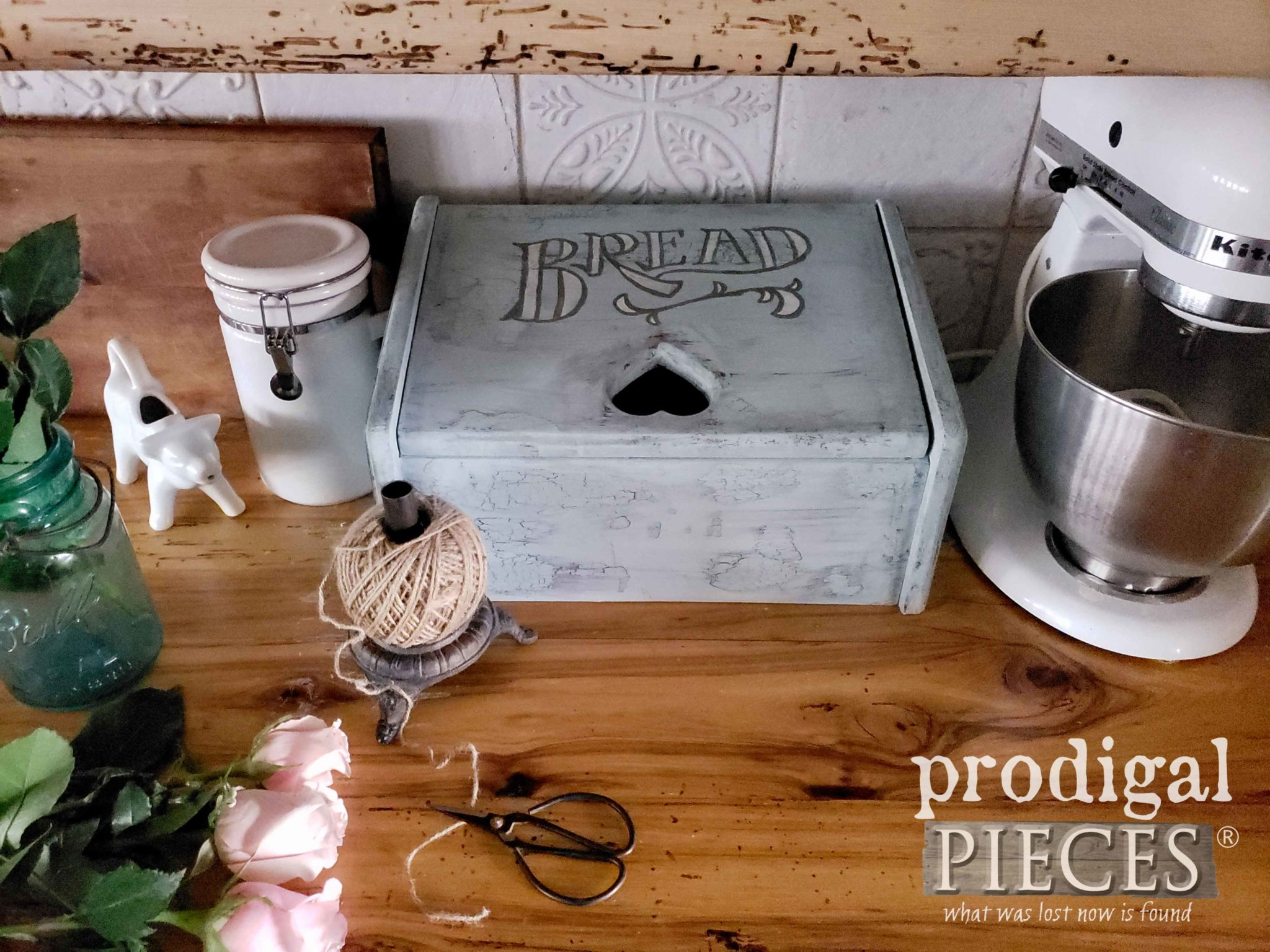 Cottage Chic Bread Box DIY Charging Station | Video Tutorial by Larissa of Prodigal Pieces | prodigalpieces.com