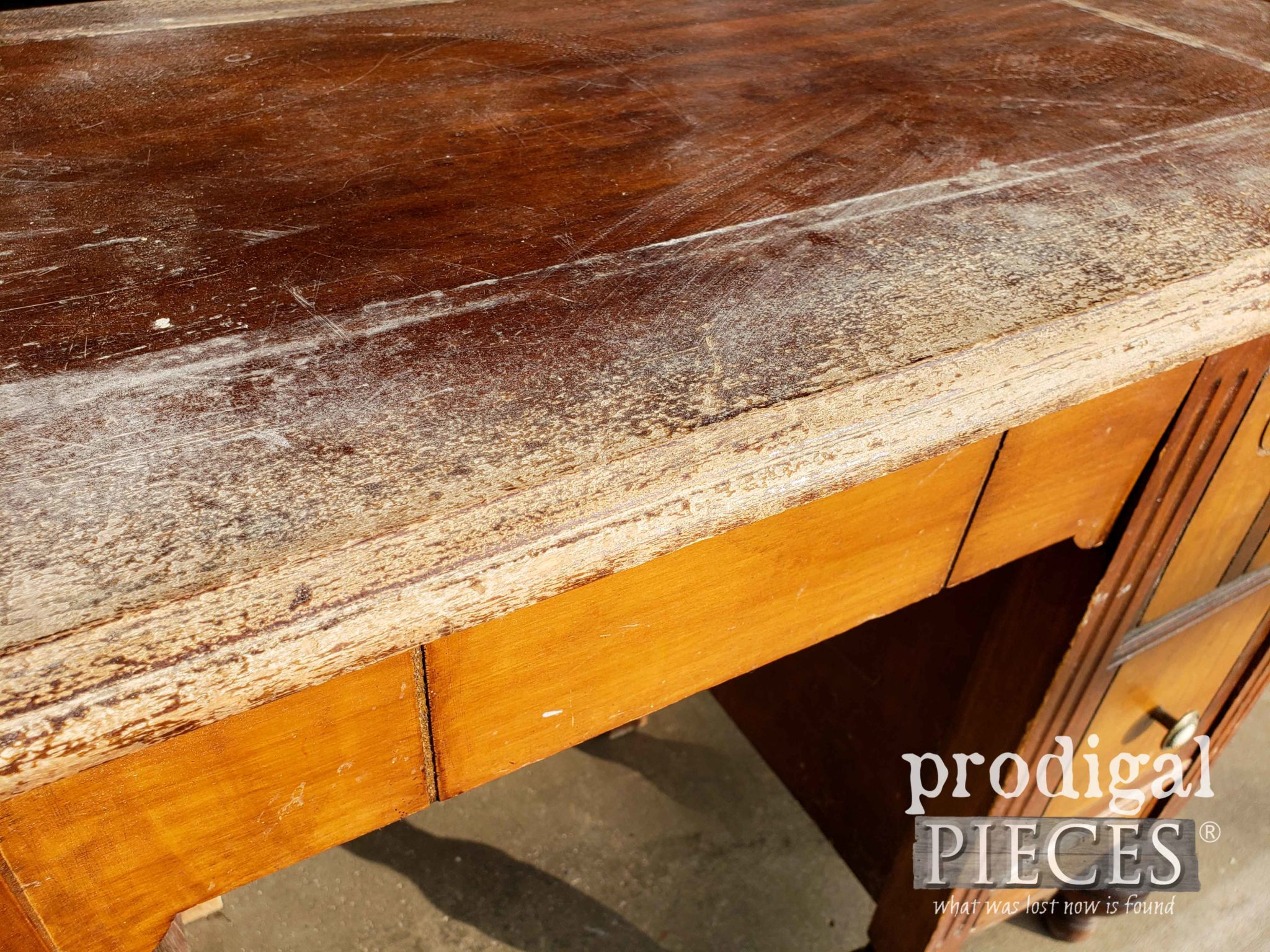 Damaged Antique Dressing Table Top Closeup | prodigalpieces.com