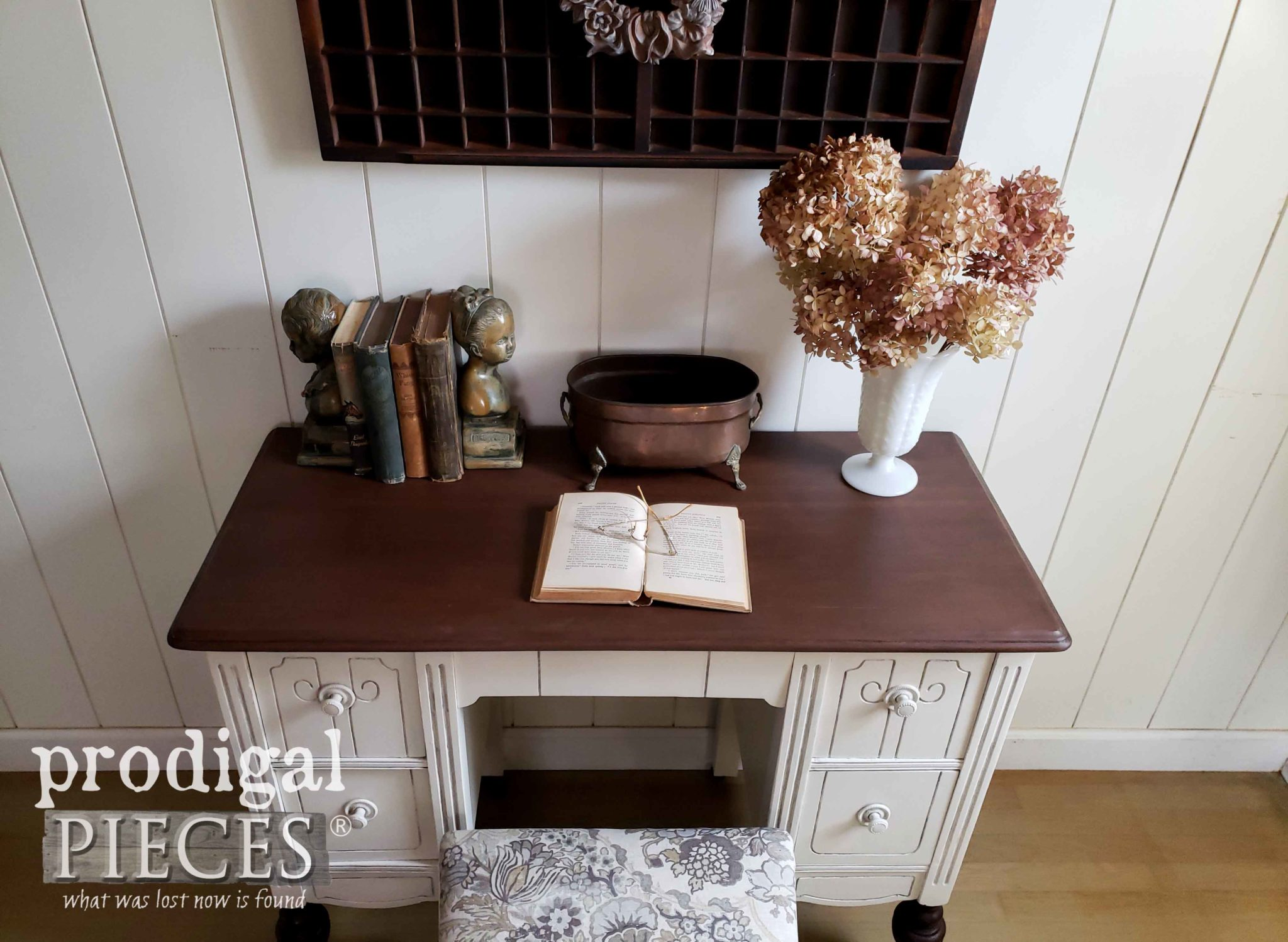 Top of Antique Dressing Table Desk with Fresh New Finish by Larissa of Prodigal Pieces | prodigalpieces.com