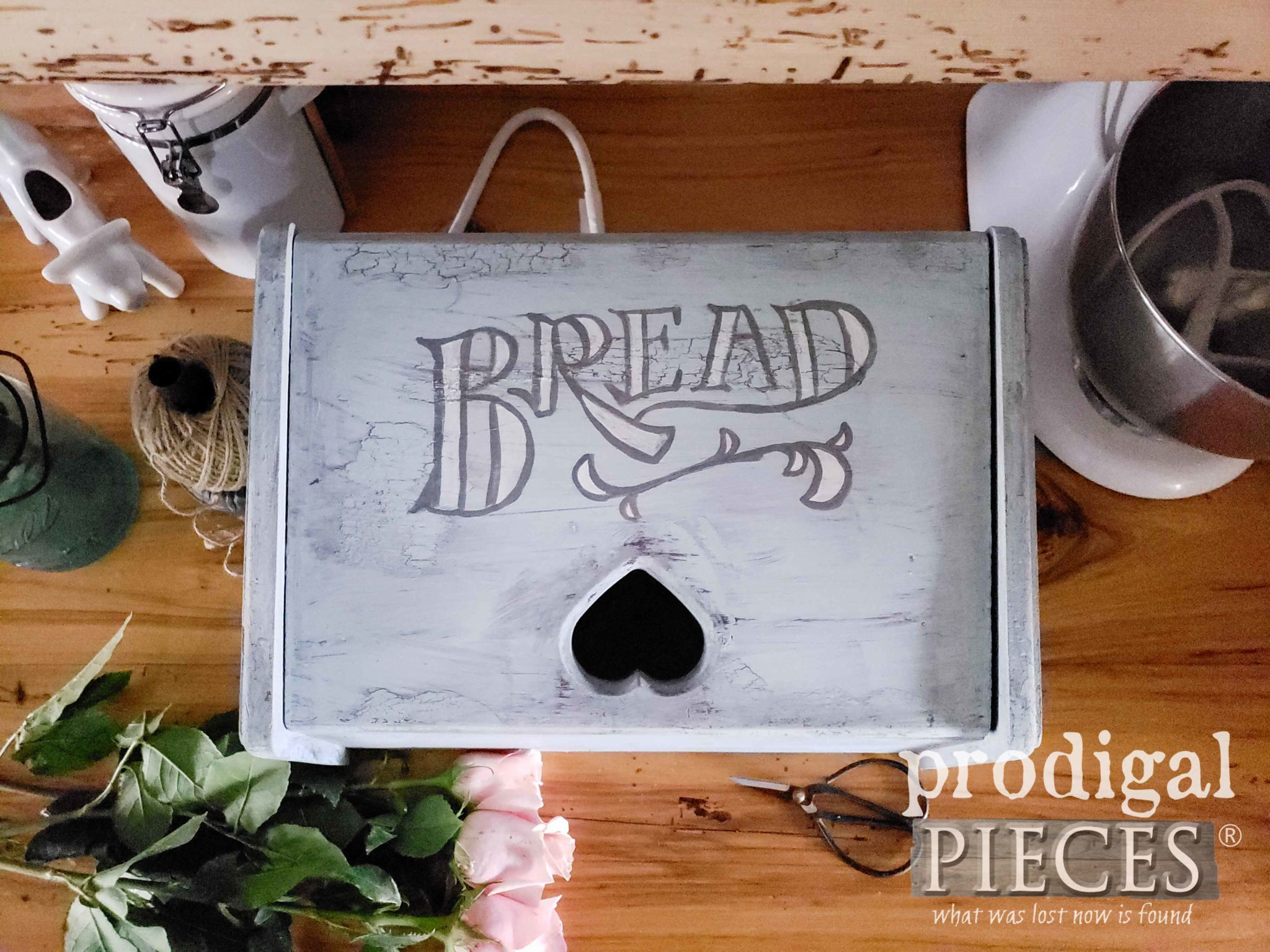 Cottage Chic Style Bread Box Turned DIY Charging Station by Larissa of Prodigal Pieces | Step-by-Step Tutorial by Larissa of Prodigal Pieces | prodigalpieces.com