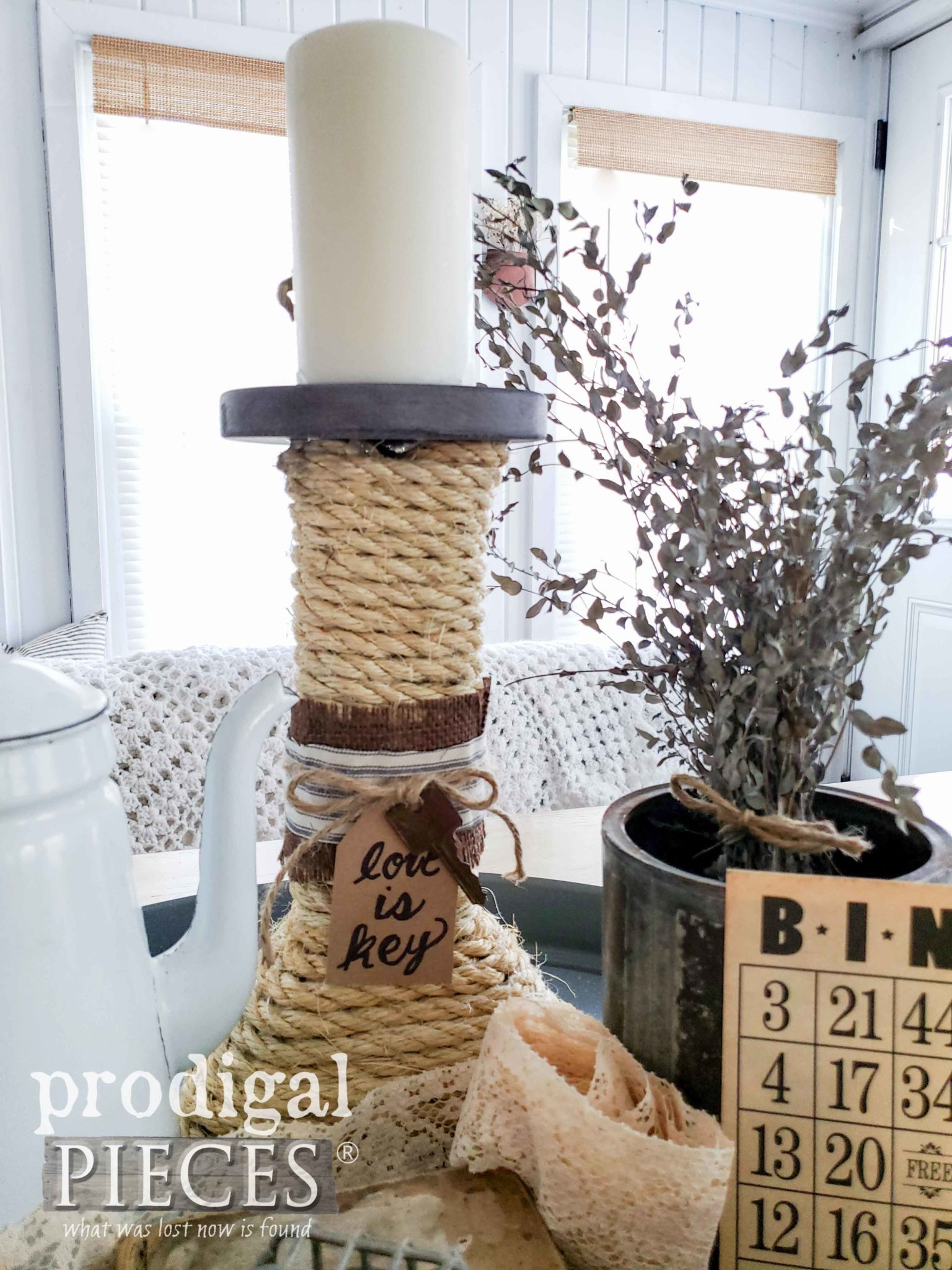 Create a Vintage Style Farmhouse Vignette using Thrifted Finds and a DIY spirit | A video tutorial by Larissa of Prodigal Pieces | prodigalpieces.com