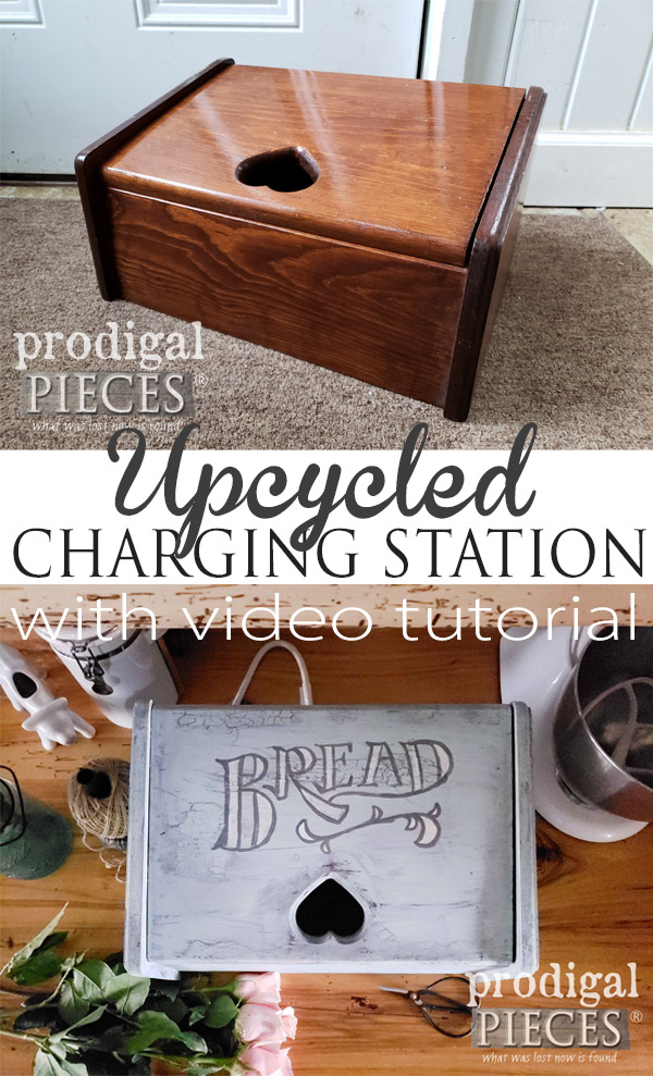 Oh so sweet! This vintage bread box with heart cut-out got a new look and purpose as Larissa of Prodigal Pieces shows us in a step-by-step video tutorial how to make it into an upcycled charging station | Head to prodigalpieces.com #prodigalpieces #diy #handmade #home #homedecor #homedecorideas #farmhouse #vintage