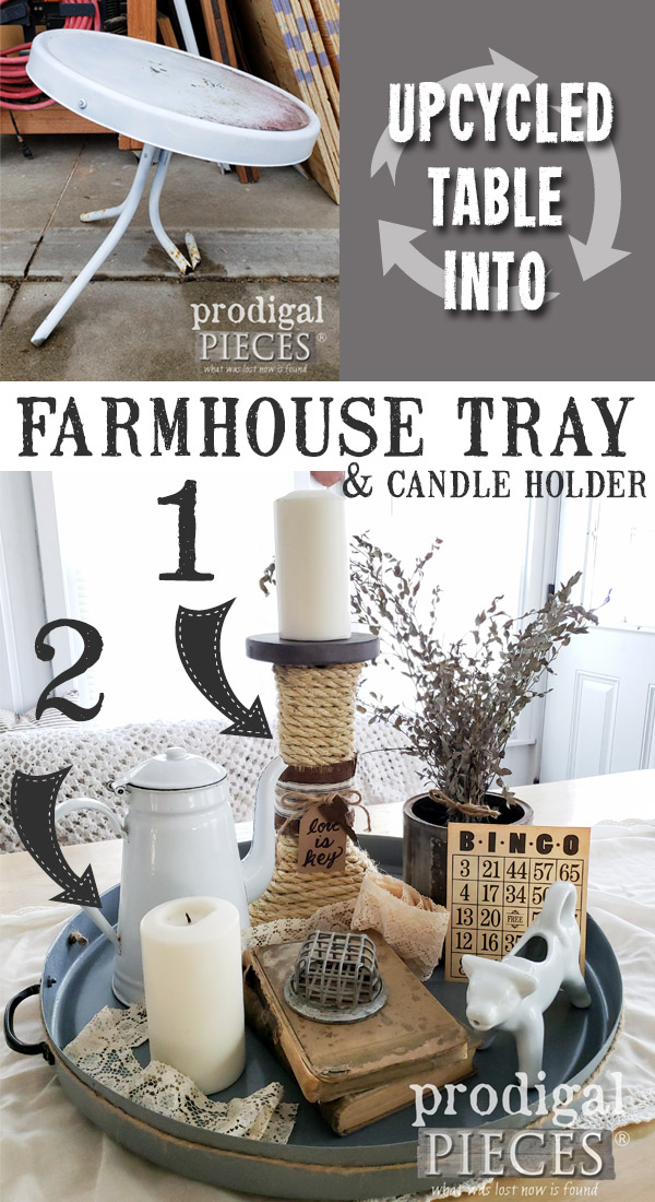 Wow! A broken table found in the trash gets transformed into an upcycled farmhouse tray and candle holder. See the DIY video tutorial by Larissa of Prodigal Pieces at prodigalpieces.com #prodigalpieces #handmade #farmhouse #home #homedecor #homedecorideas #videos #tutorial