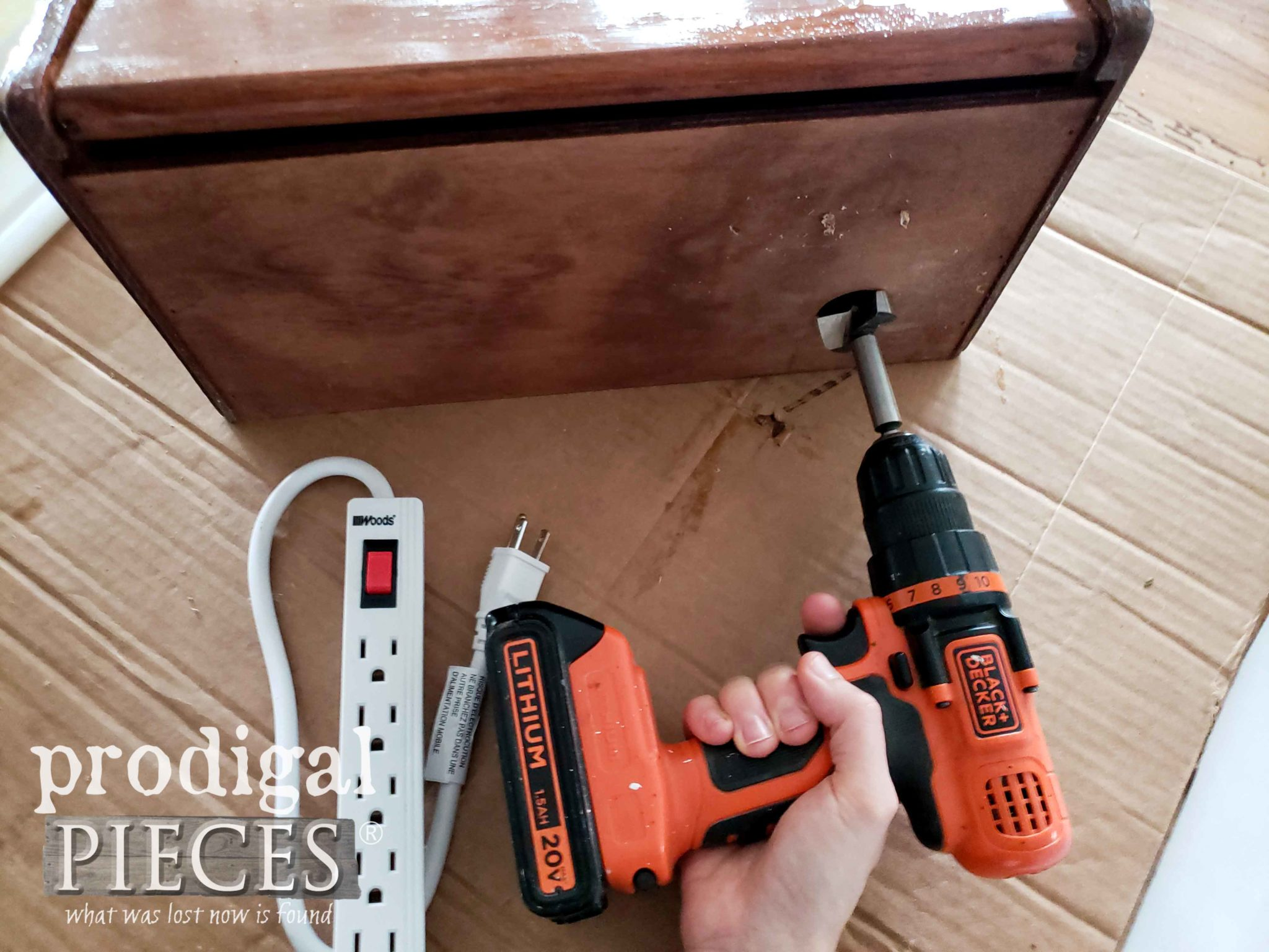 Drilling Hole into Vintage Bread Box | prodigalpieces.com