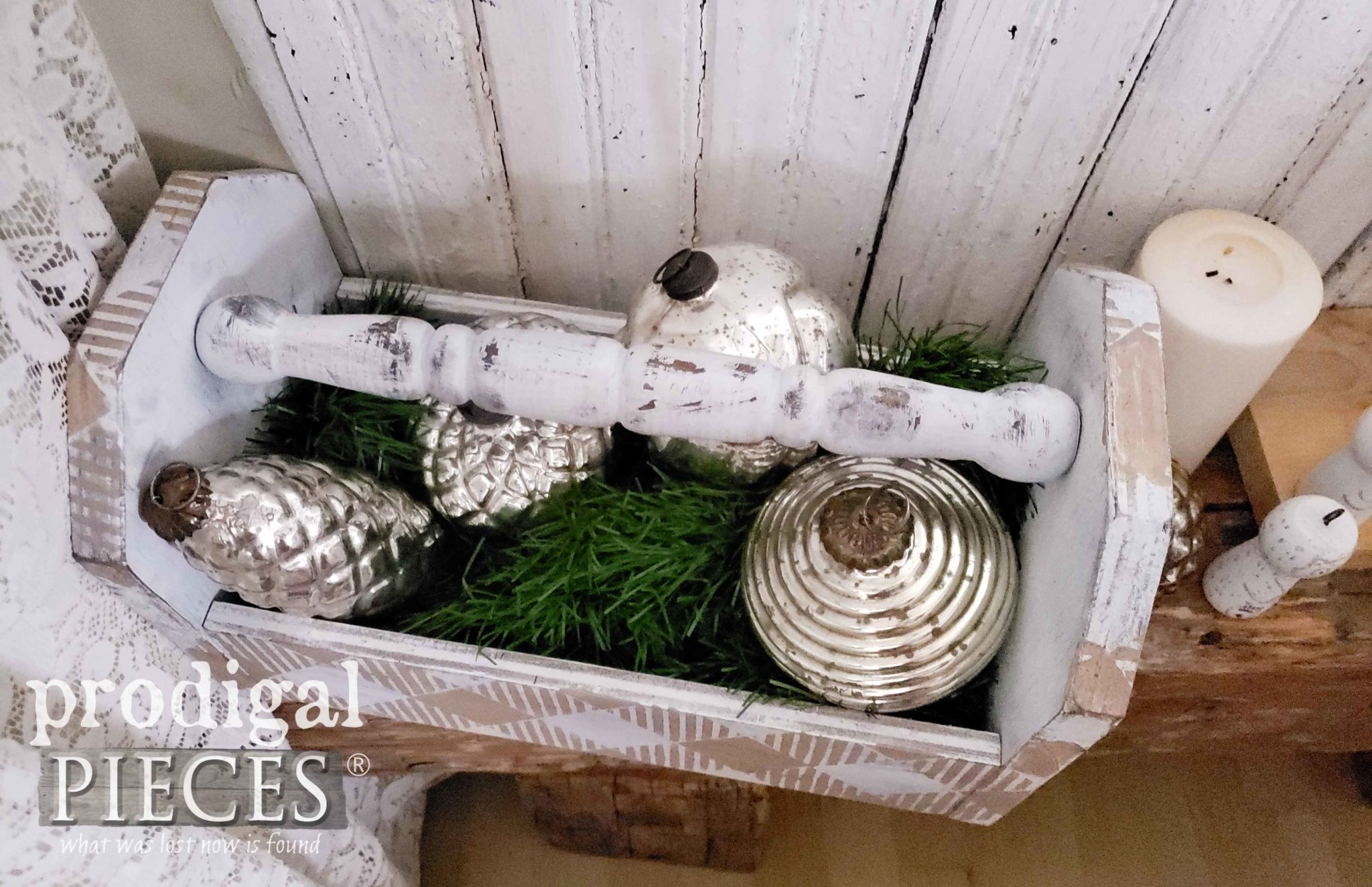 Farmhouse Buffalo Check Tote with Mercury Glass Ornaments by Larissa of Prodigal Pieces | prodigalpieces.com