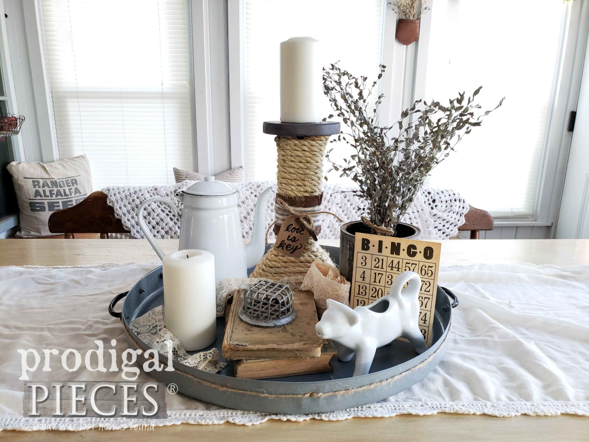 DIY Upcycled Farmhouse Tray with Vintage Style Vignette by Larissa of Prodigal Pieces | prodigalpieces.com