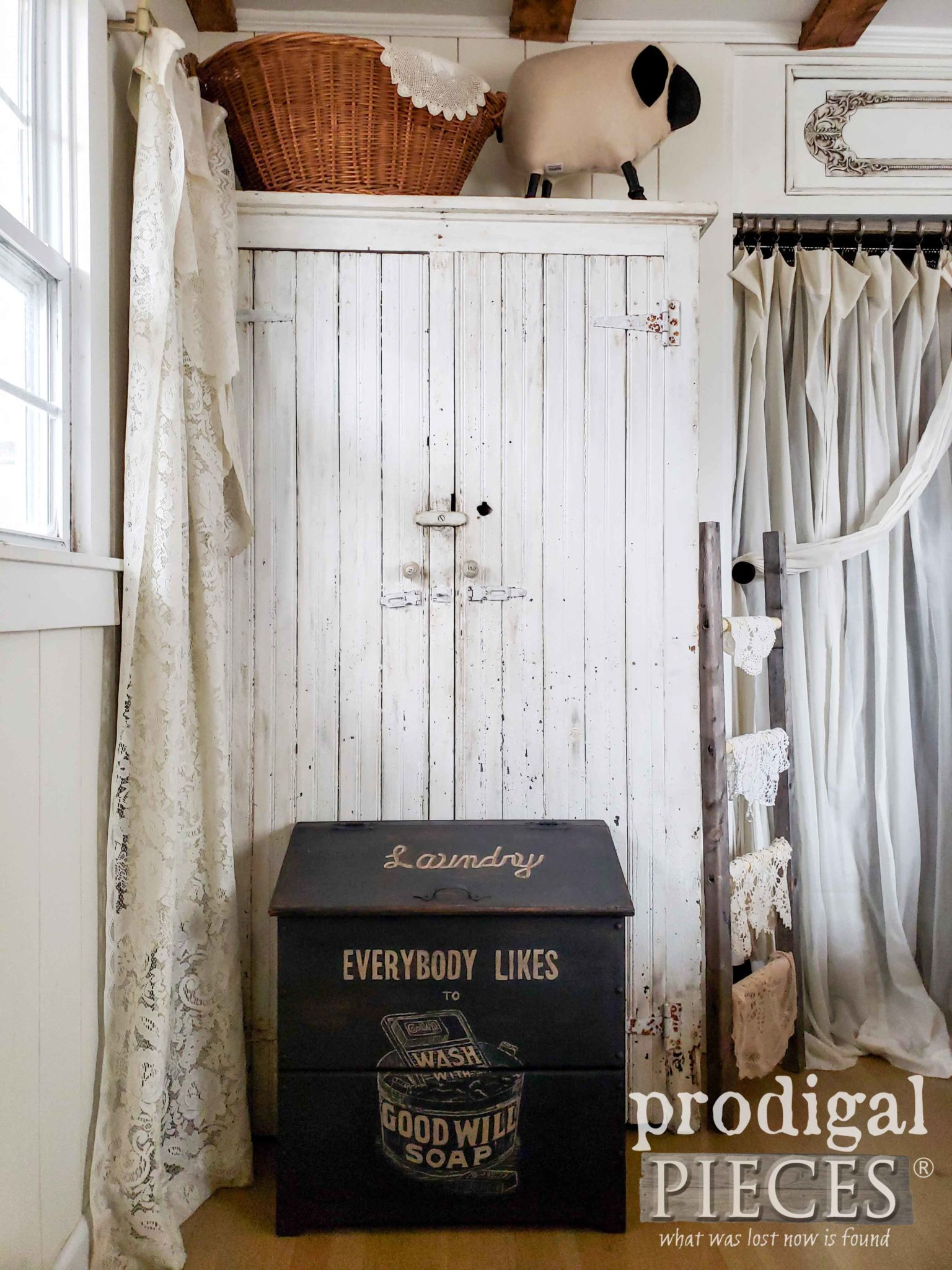 Farmhouse Style Bedroom with Vintage Laundry Bin Created by Larissa of Prodigal Pieces | prodigalpieces.com #prodigalpieces
