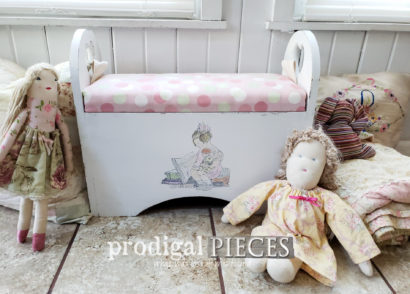 Featured Kids Storage Bench with Upholstered Top by Larissa of Prodigal Pieces | prodigalpieces.com