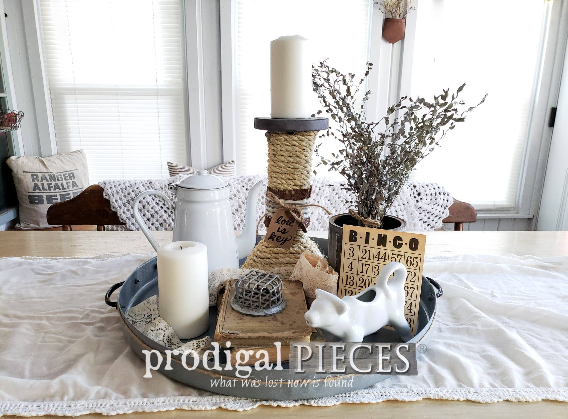 Featured Upcycled Farmhouse Tray and Candle Holder made from a curbside table   Come see the DIY video tutorial at Larissa of Prodigal Pieces   prodigalpieces.com