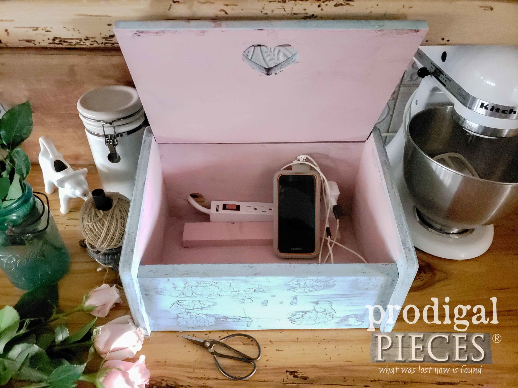 Inside DIY Upcycled Charging Station by Larissa of Prodigal Pieces | Video Tutorial at prodigalpieces.com
