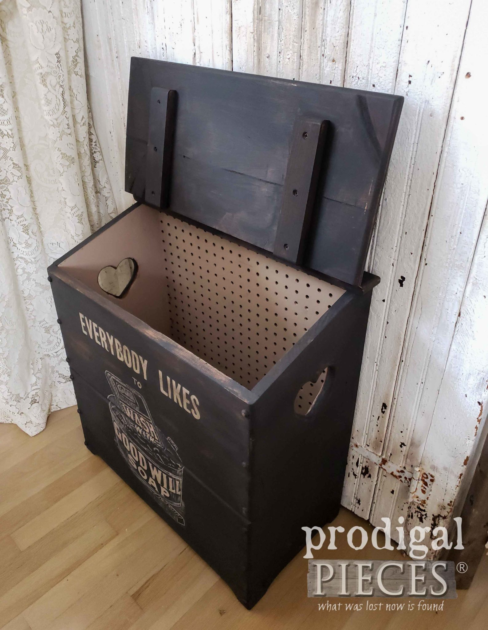 Inside Farmhouse Laundry Bin Updated by Larissa of Prodigal Pieces | prodigalpieces.com