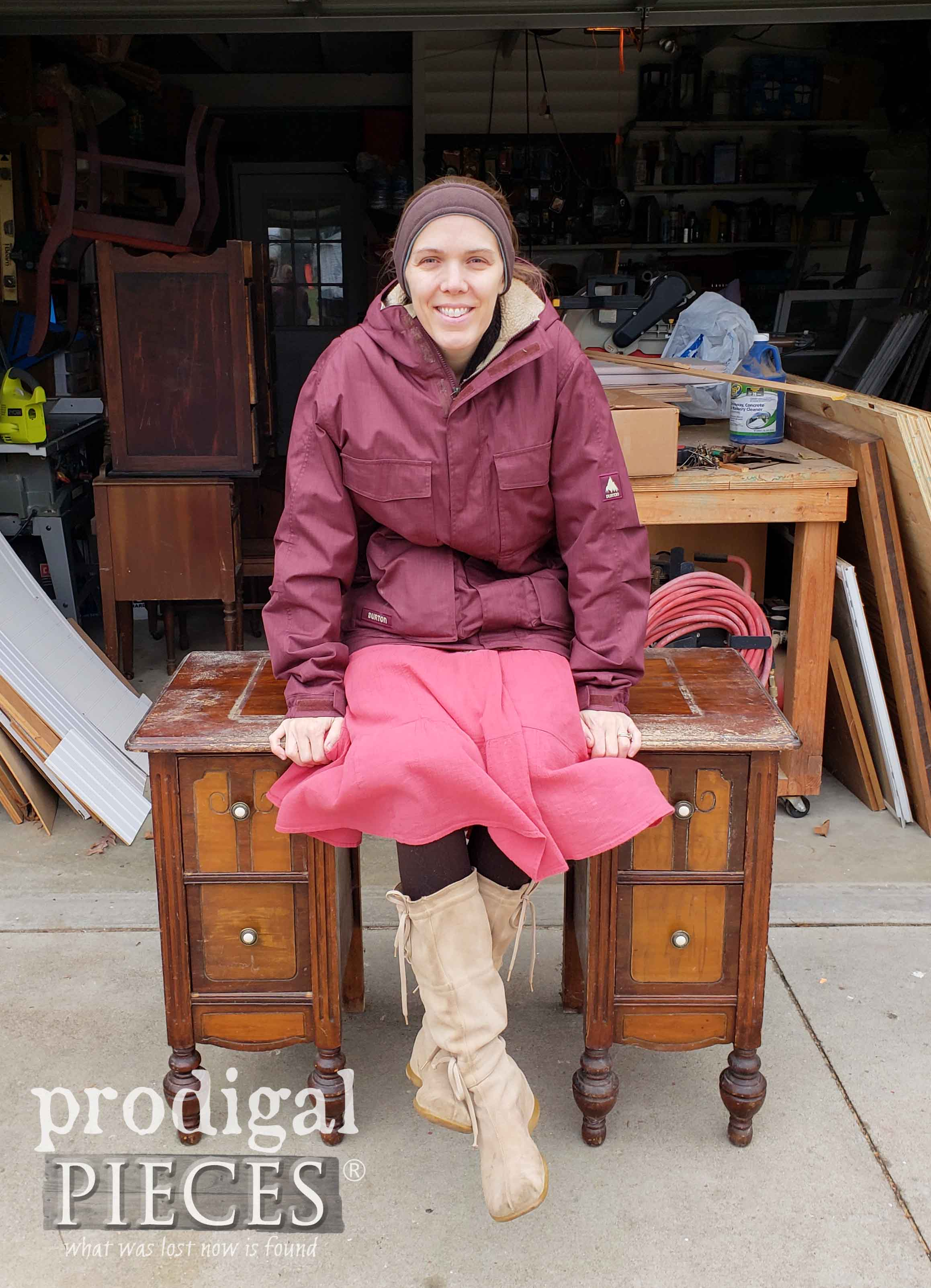 Larissa of Prodigal Pieces perched on an Antique Dressing Table | prodigalpieces.com