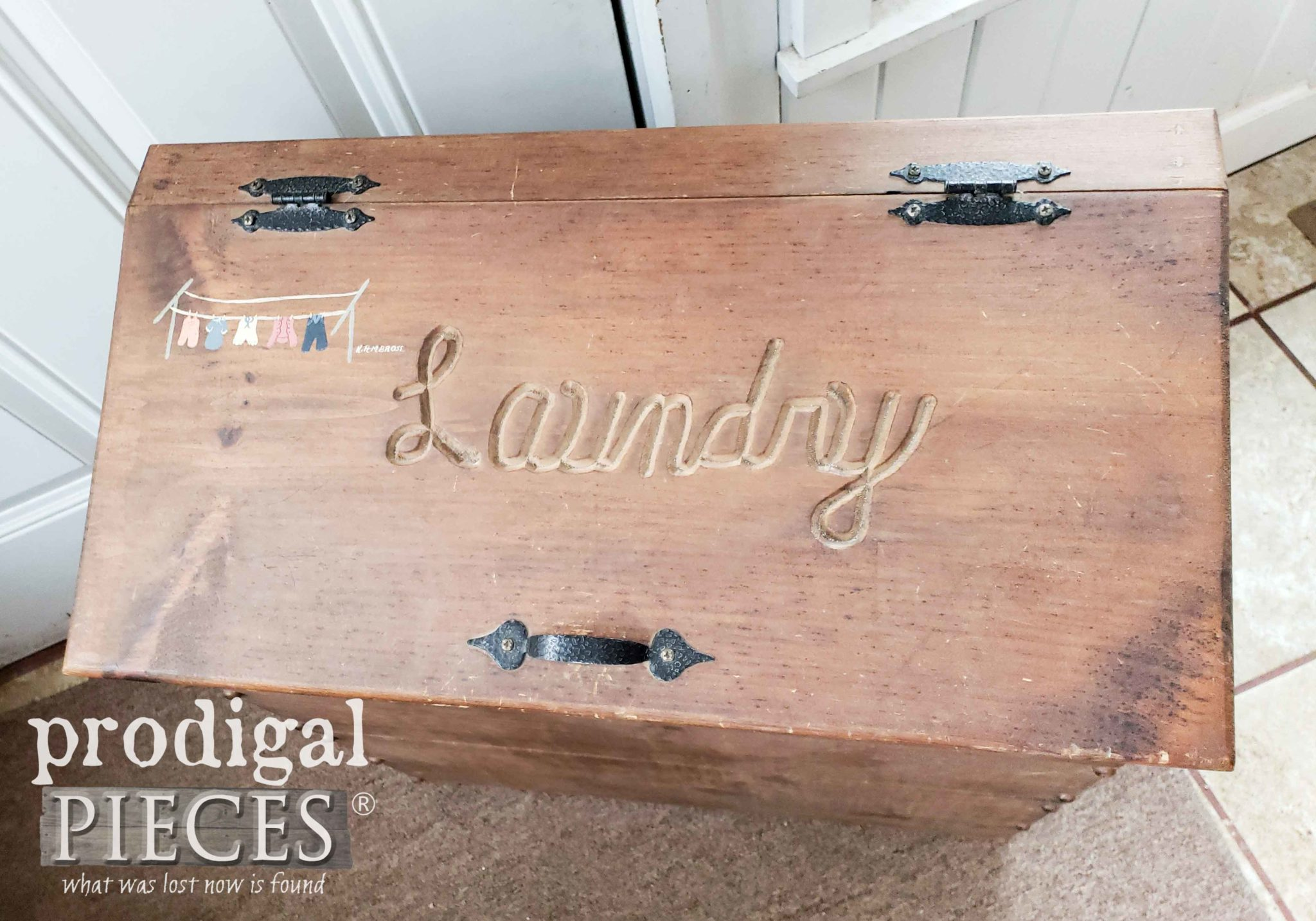 Vintage Laundry Bin Carved Top | prodigalpieces.com