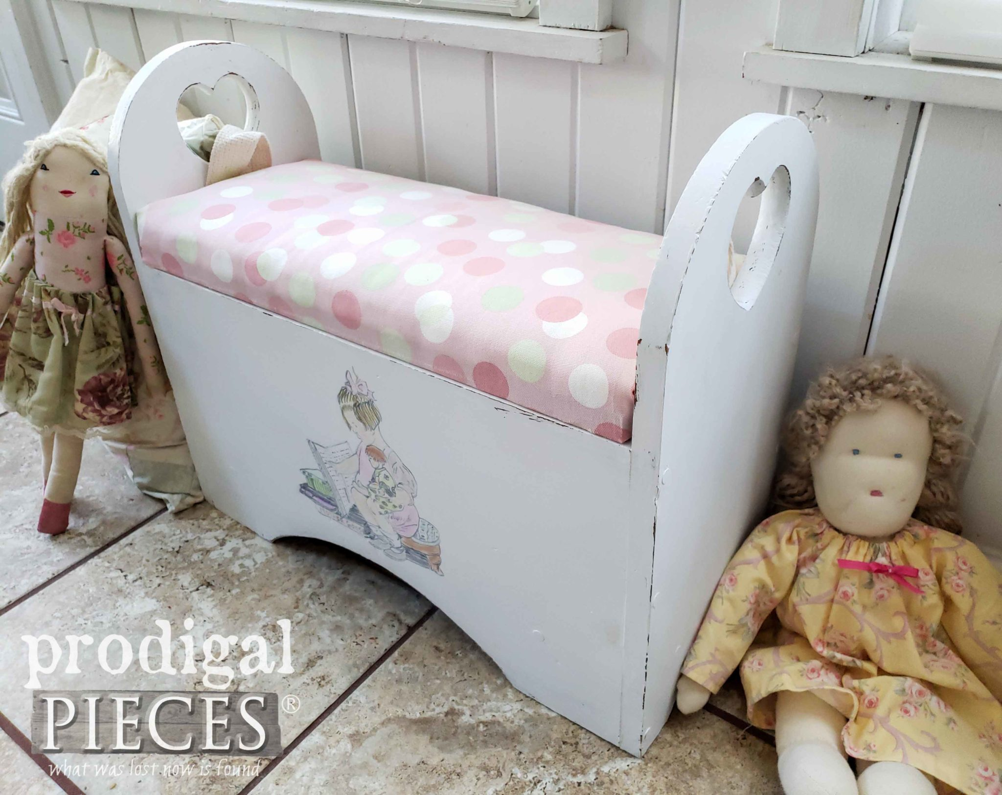 Little Girl's Storage Bench with Hand-Painted Design by Larissa of Prodigal Pieces | prodigalpieces.com