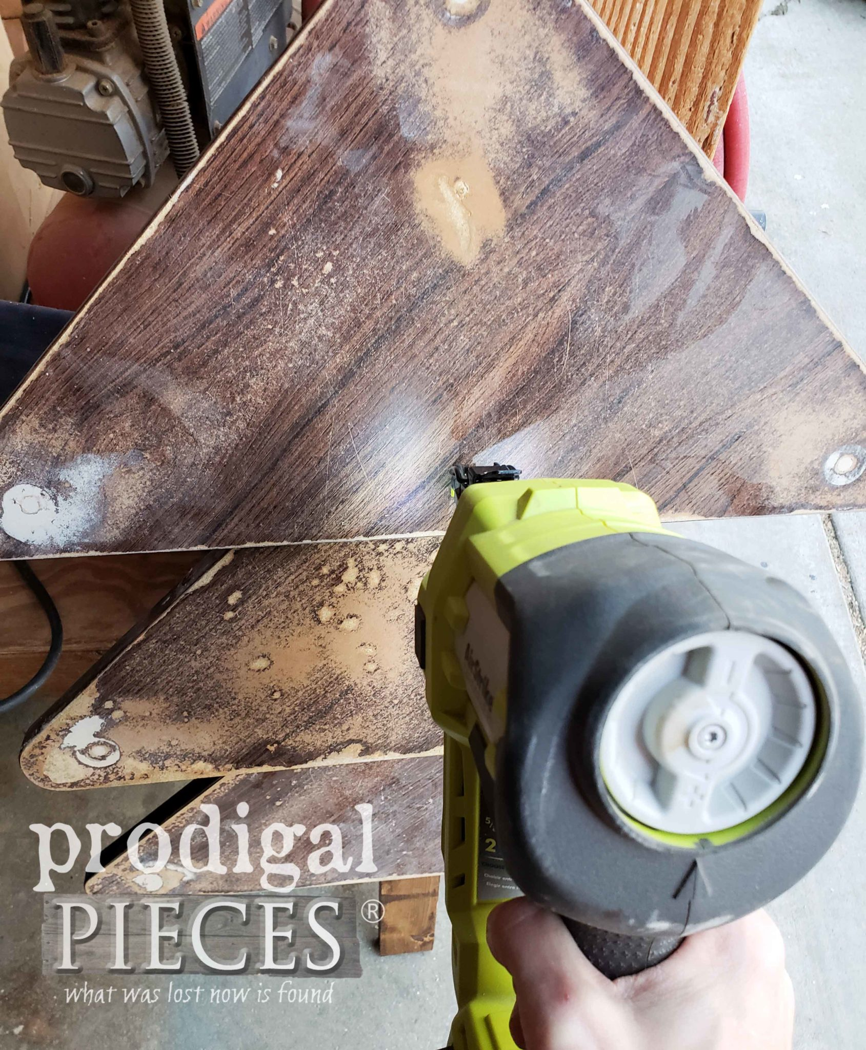 Ryobi Brad Nailer to Assemble DIY Upcycled Christmas Tree | prodigalpieces.com